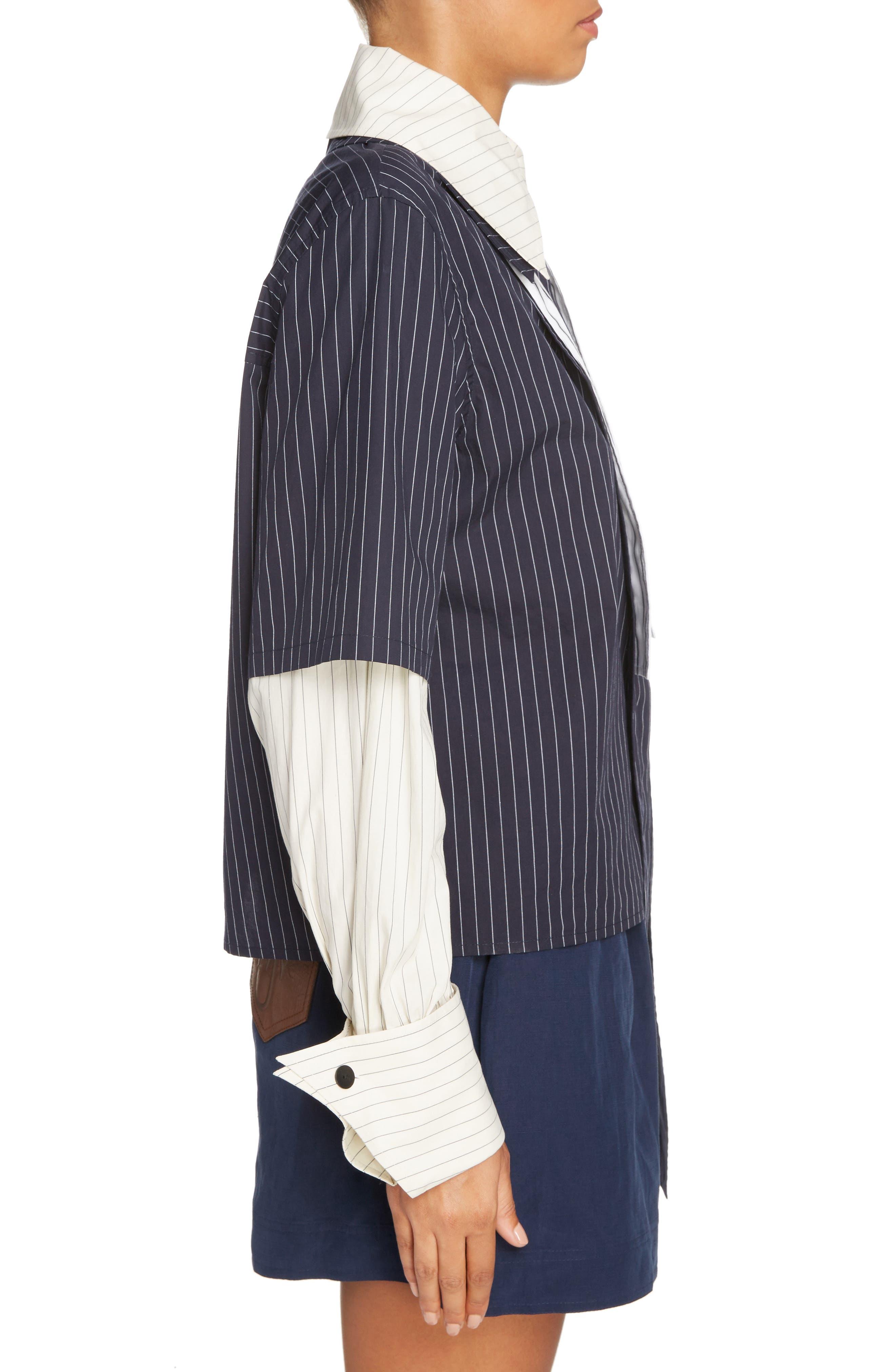 Double Layer Tie Neck Blouse,                             Alternate thumbnail 4, color,                             Navy