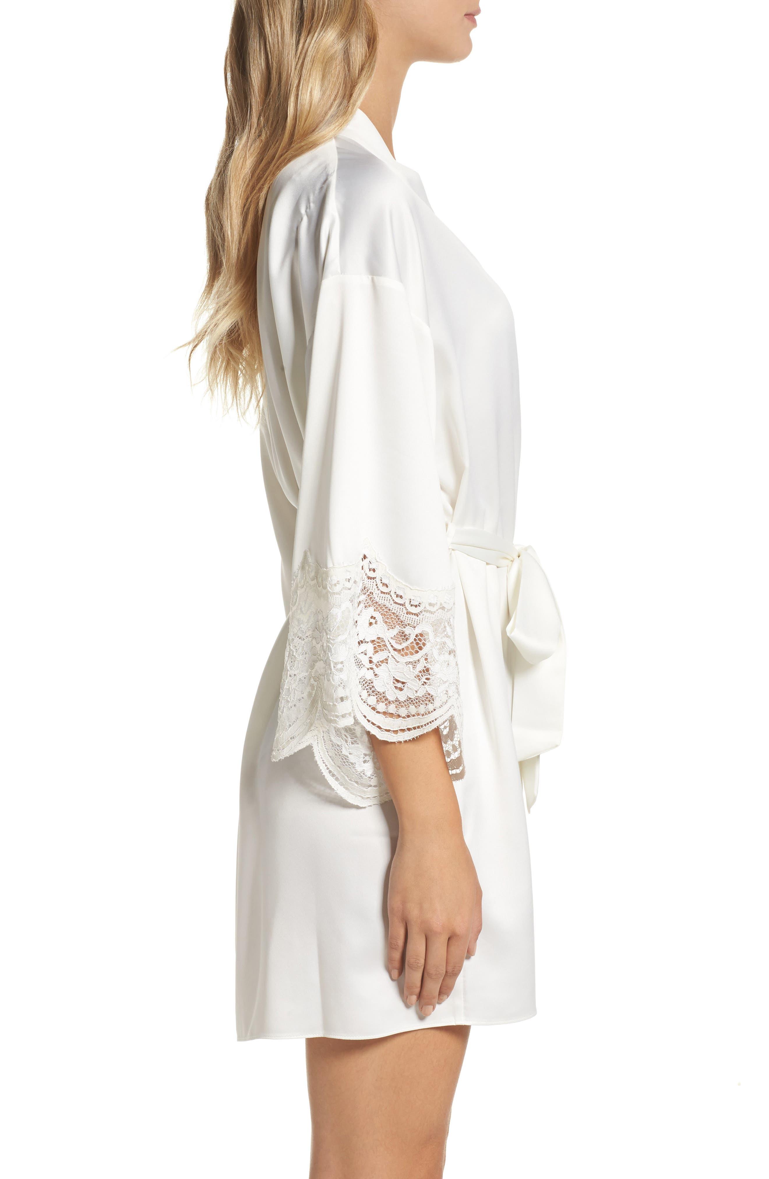 Alternate Image 3  - Flora Nikrooz Monica Satin Kimono Robe
