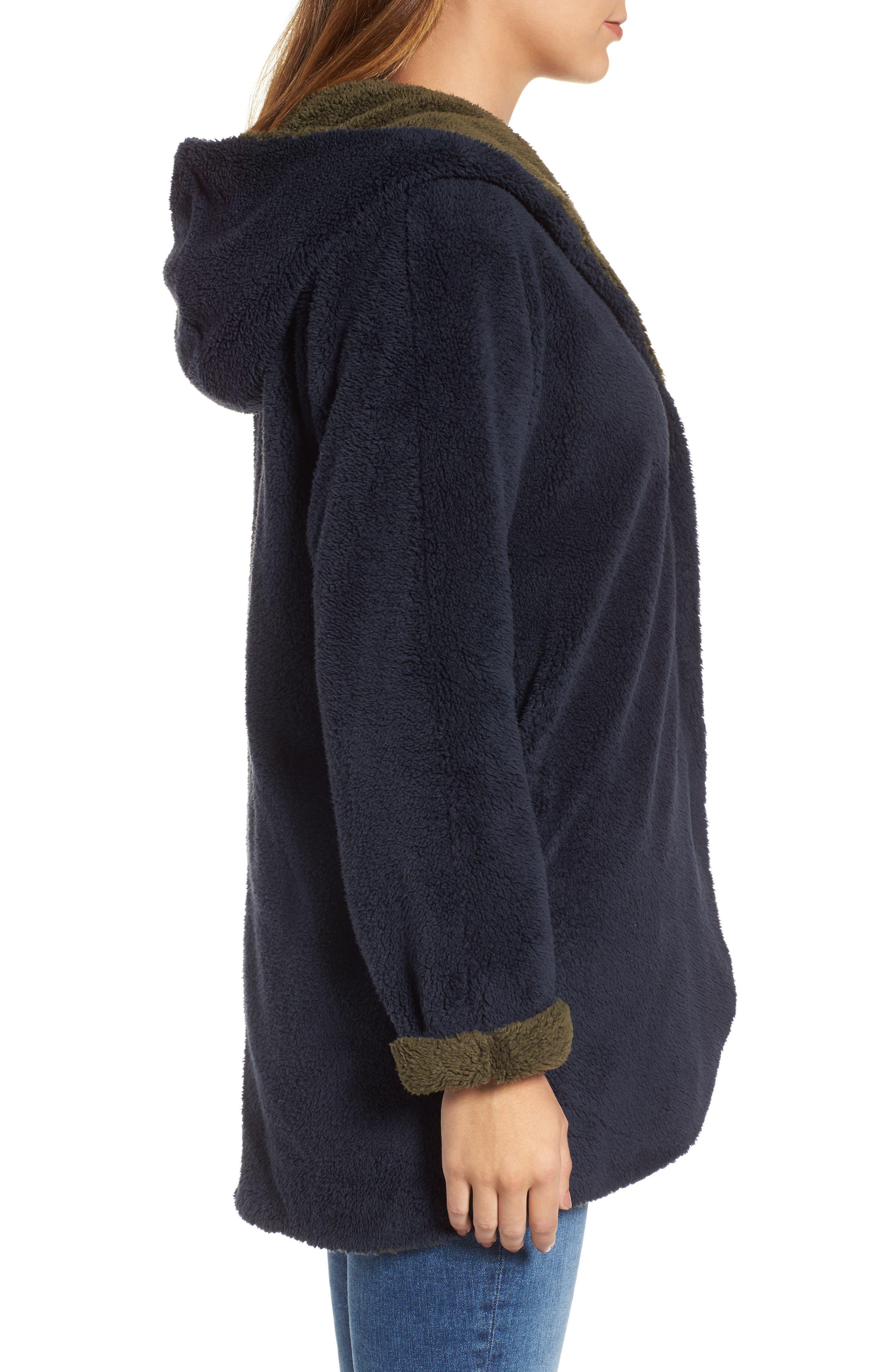 Hooded Reversible Coat,                             Alternate thumbnail 3, color,                             Navy/ Olive