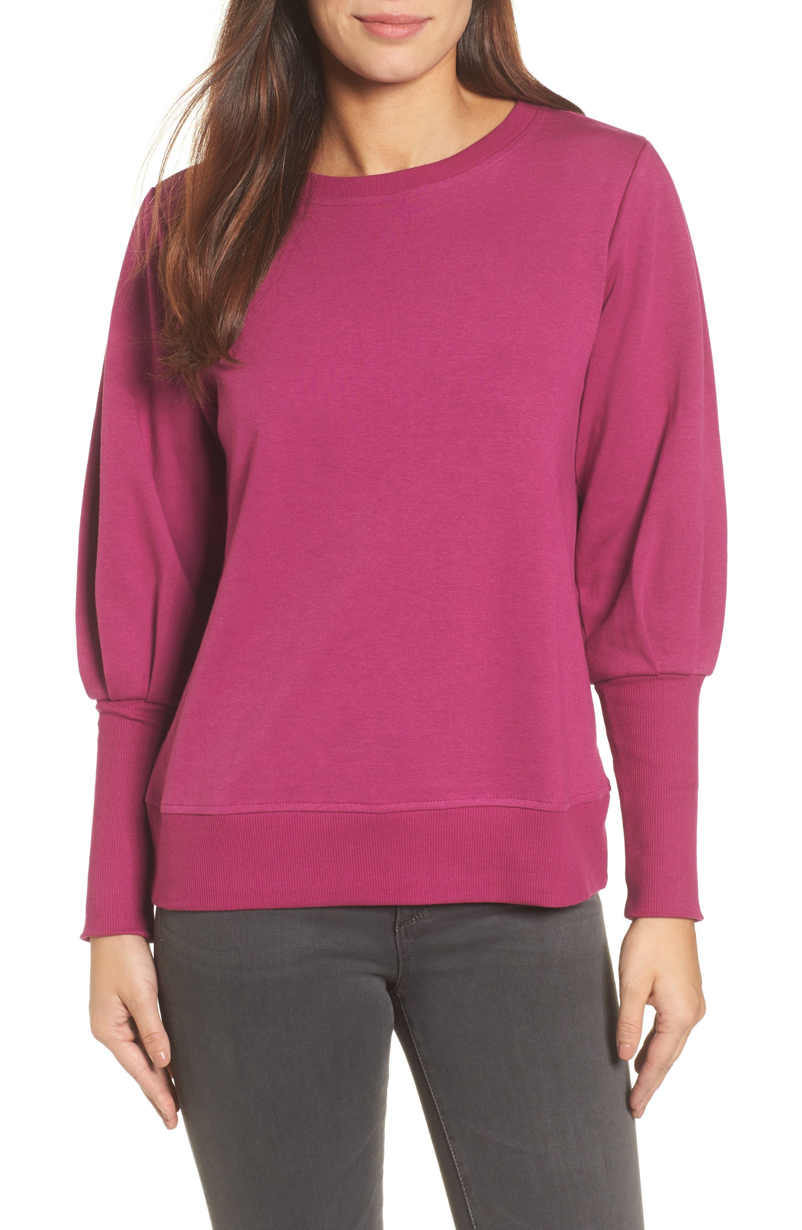 Blouson Sleeve Sweatshirt,                         Main,                         color, Magenta
