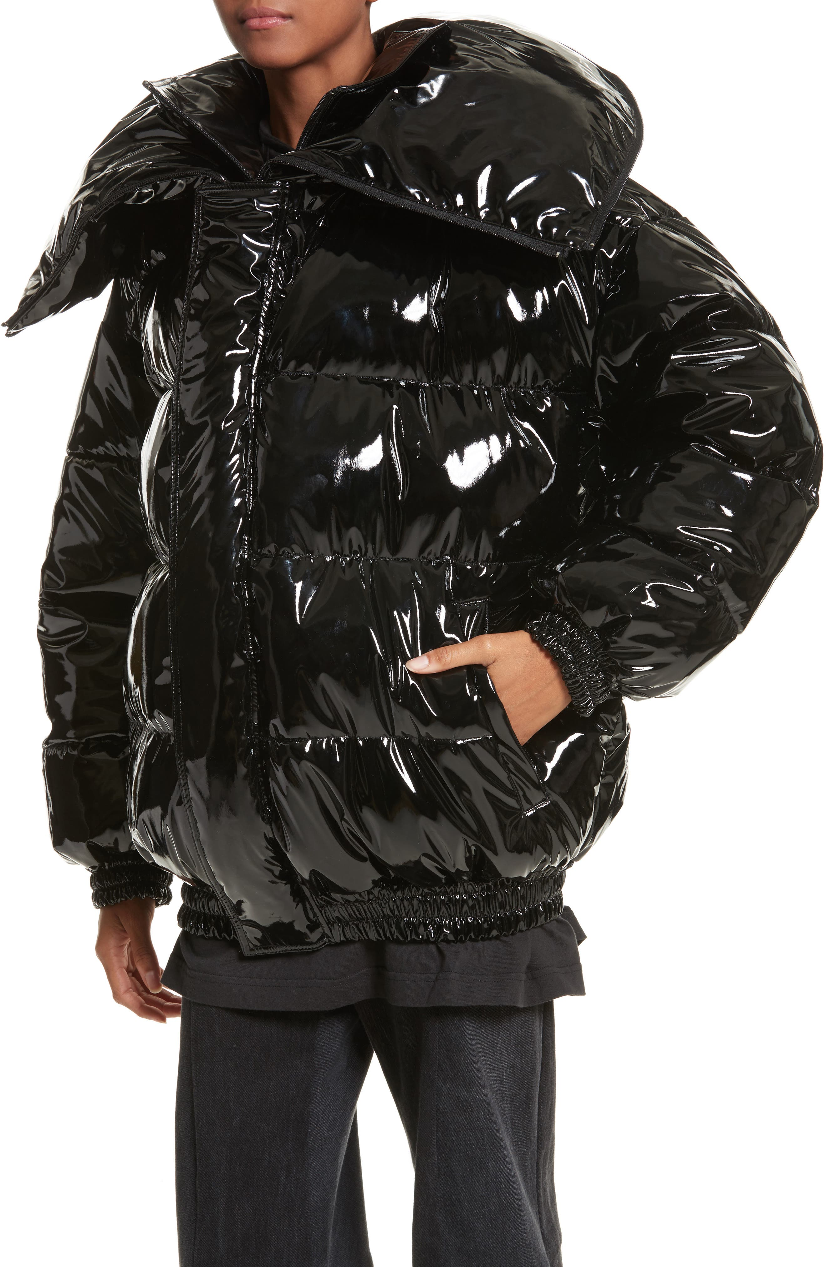 Miss Webcam Puffer Jacket,                             Alternate thumbnail 4, color,                             Black