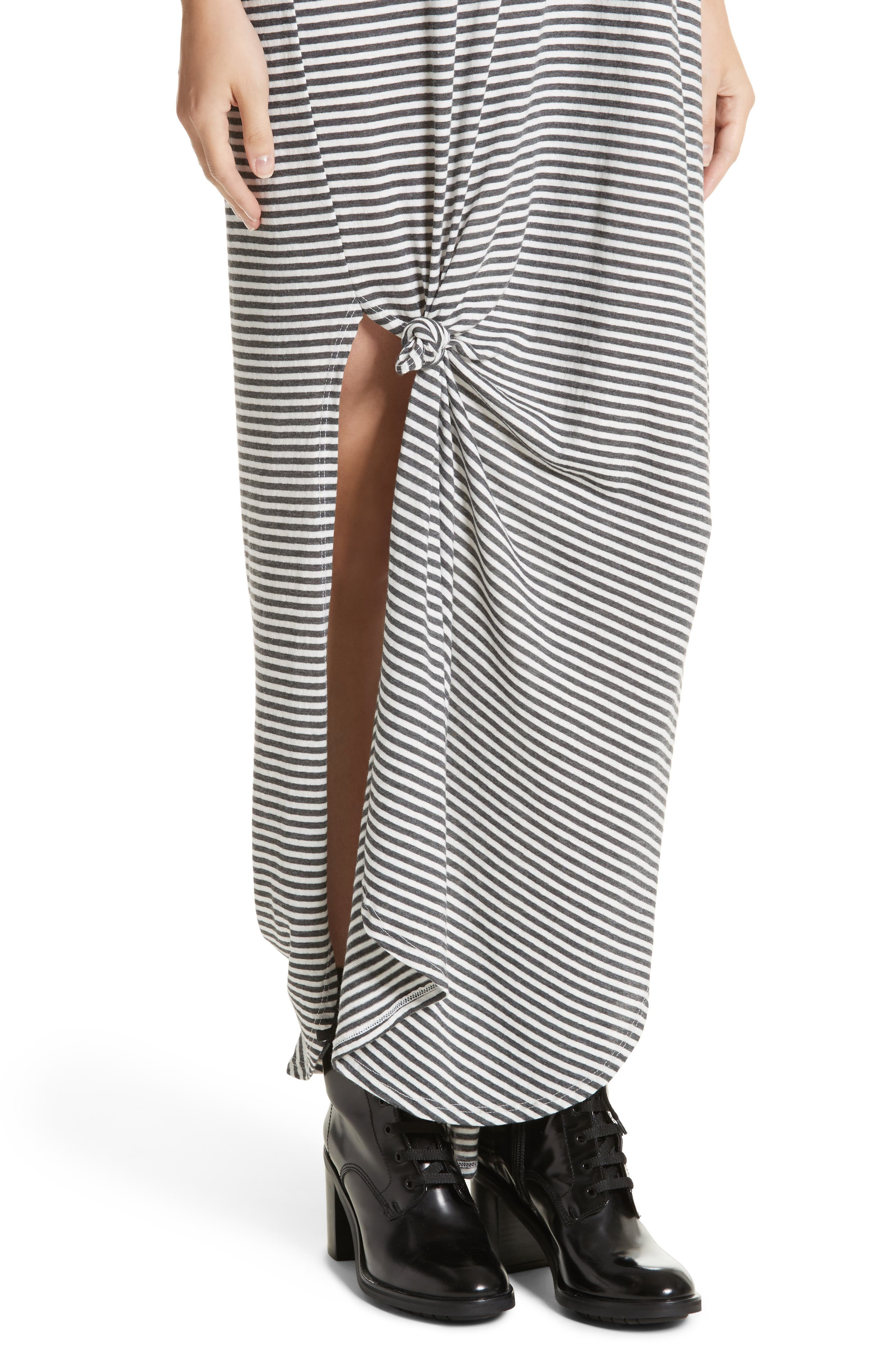 The Knotted Tee Dress,                             Alternate thumbnail 5, color,                             Smoke Stripe