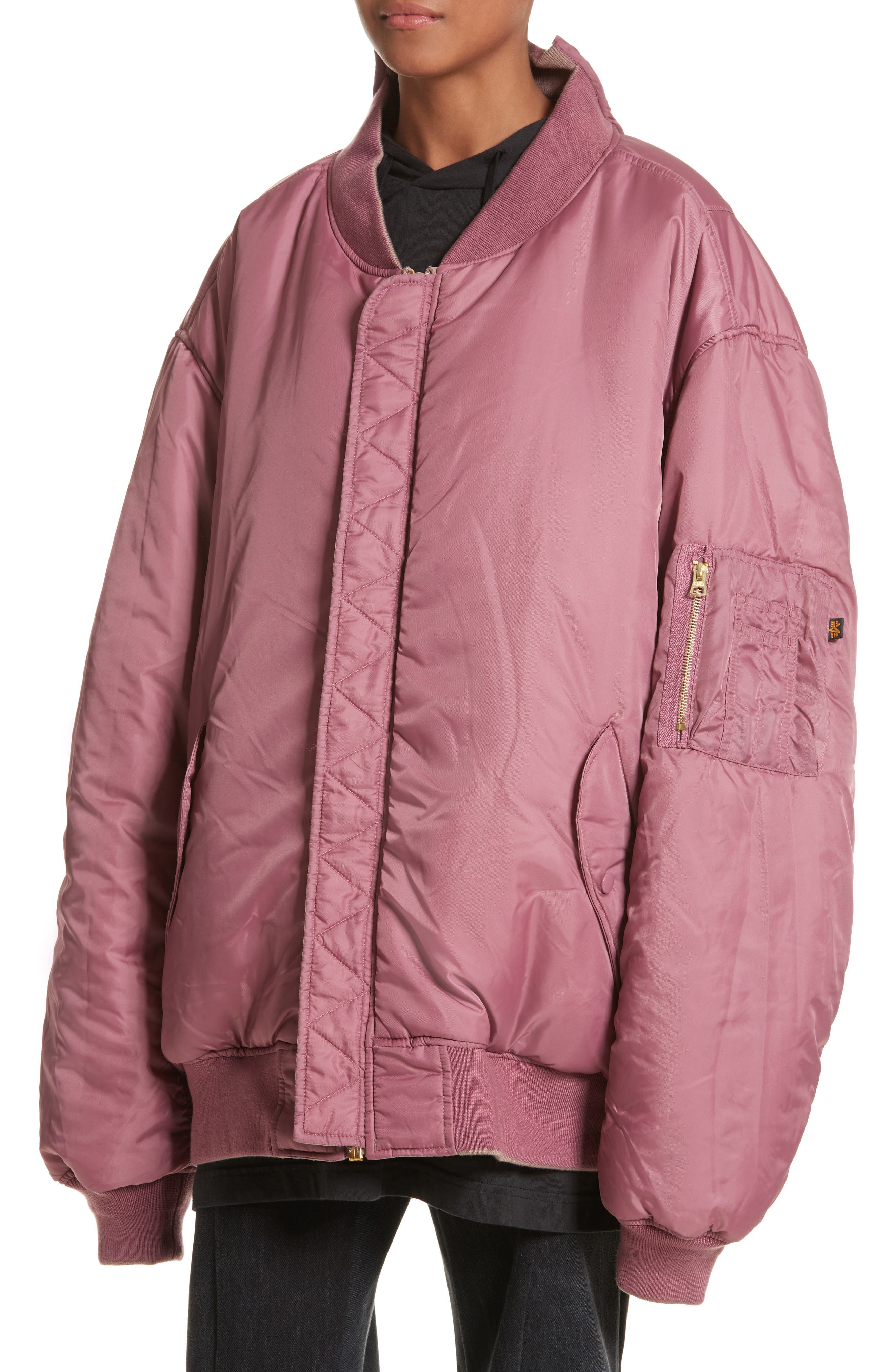 x Alpha Industries Reversible Bomber Jacket,                             Alternate thumbnail 6, color,                             Rose Pink