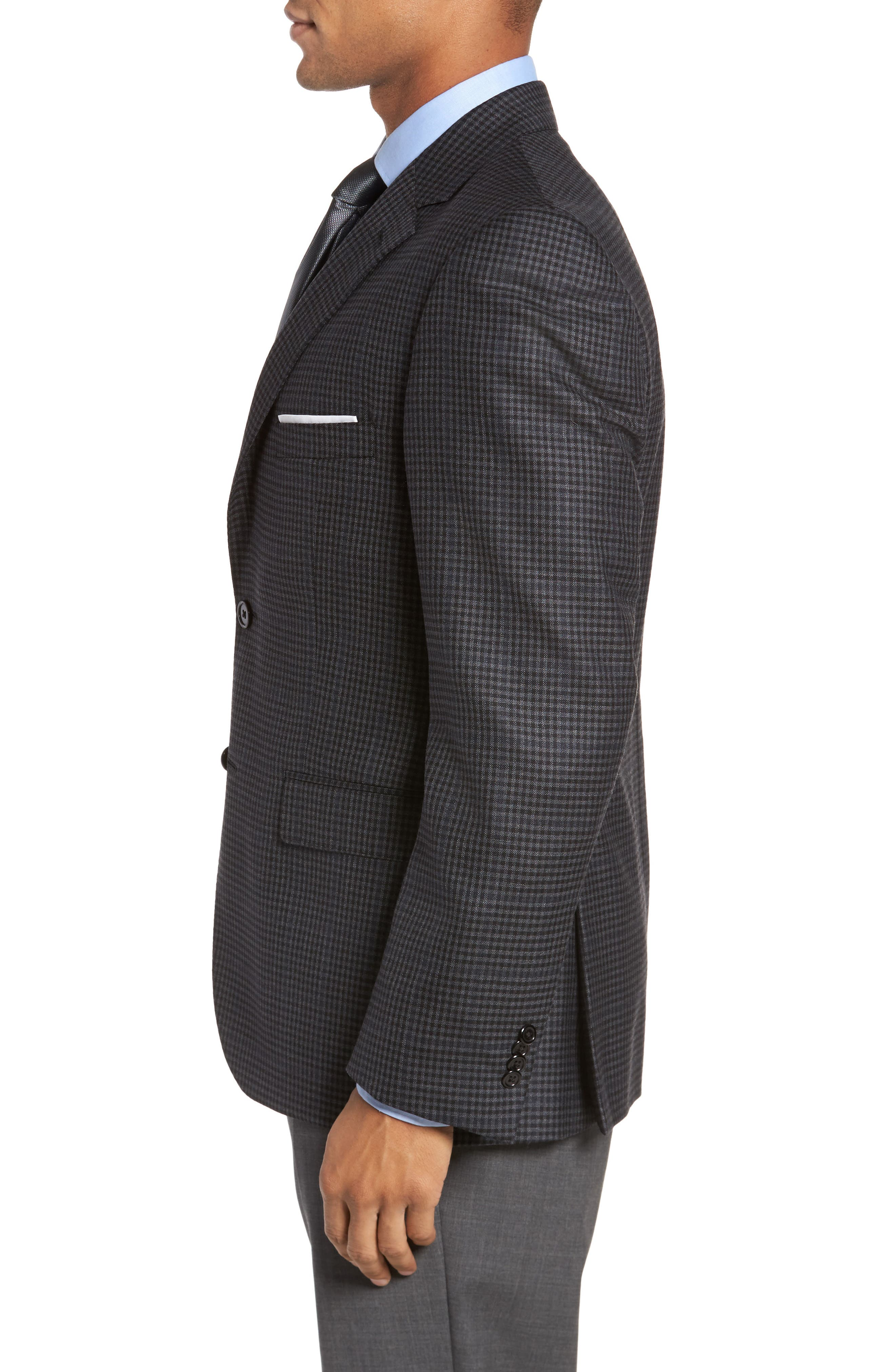 Classic Fit Plaid Wool Sport Coat,                             Alternate thumbnail 3, color,                             Charcoal