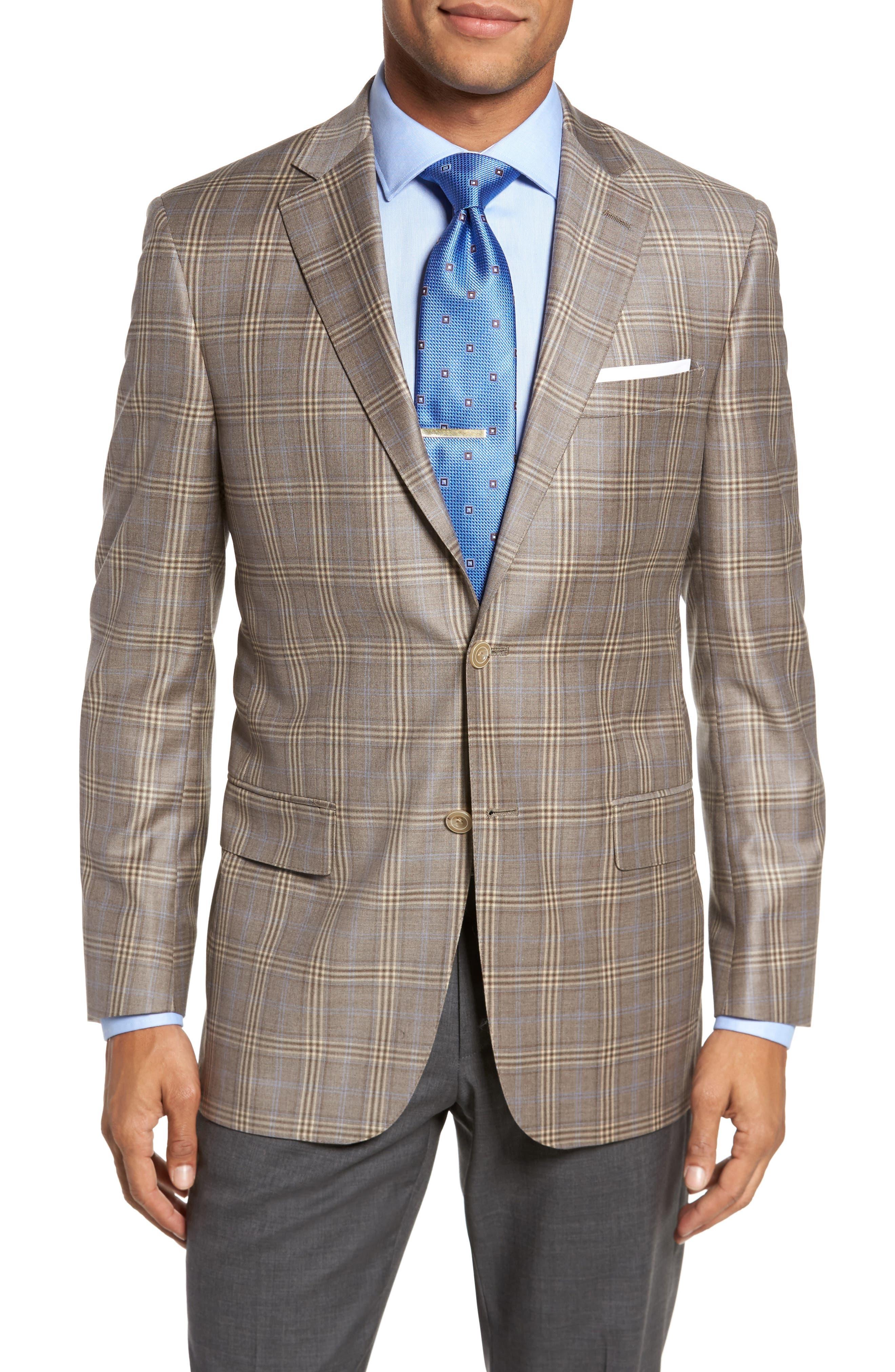 Classic Fit Plaid Wool Sport Coat,                             Main thumbnail 1, color,                             Light Brown