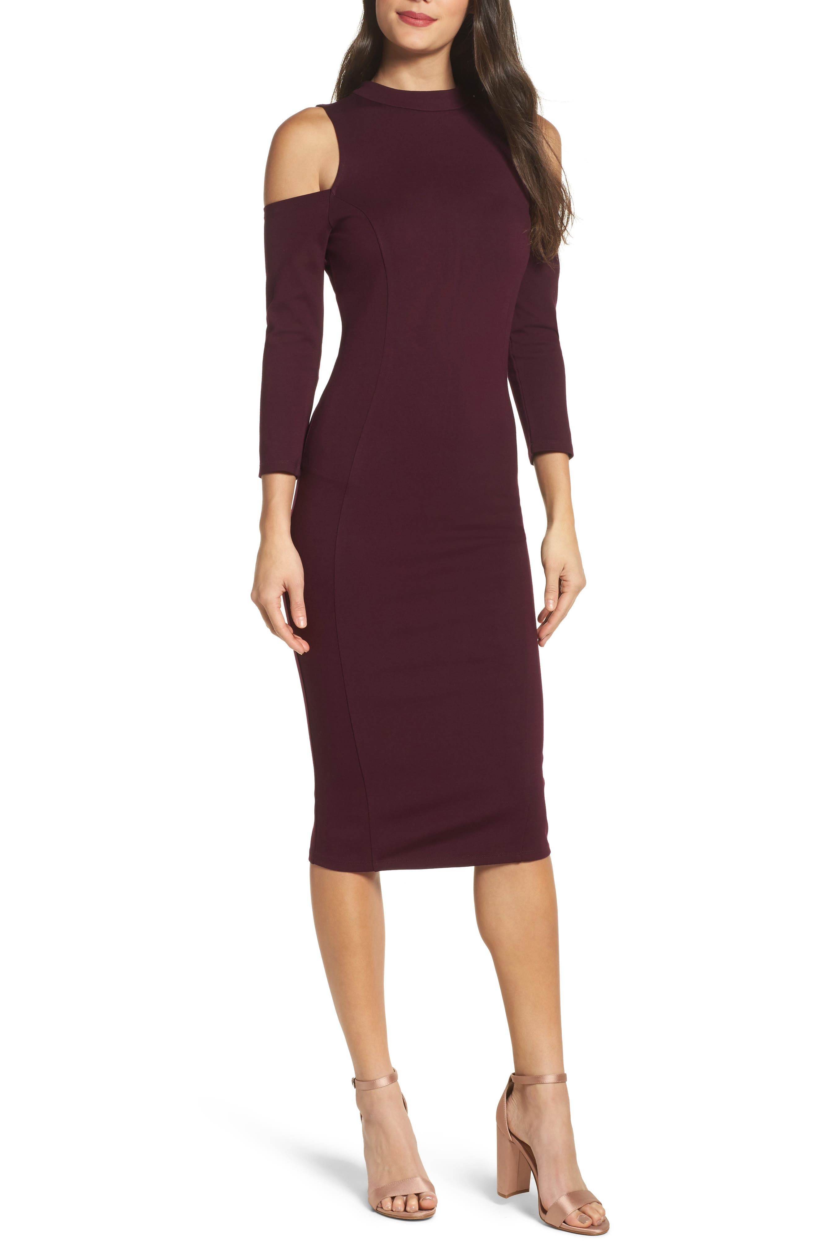 Felicity & Coco Cold Shoulder Midi Dress (Nordstrom Exclusive)