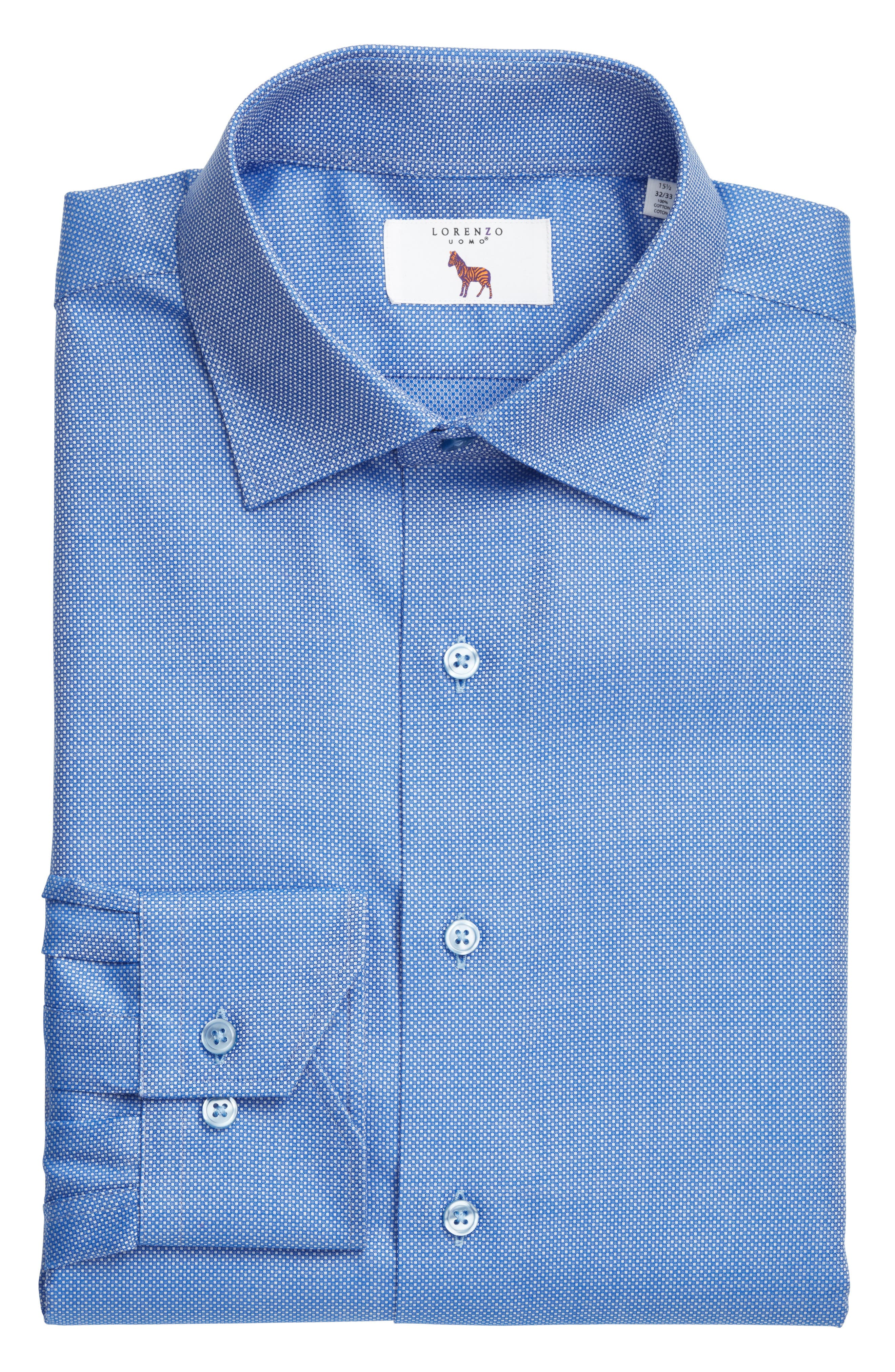 Trim Fit Textured Dress Shirt,                             Alternate thumbnail 4, color,                             Navy