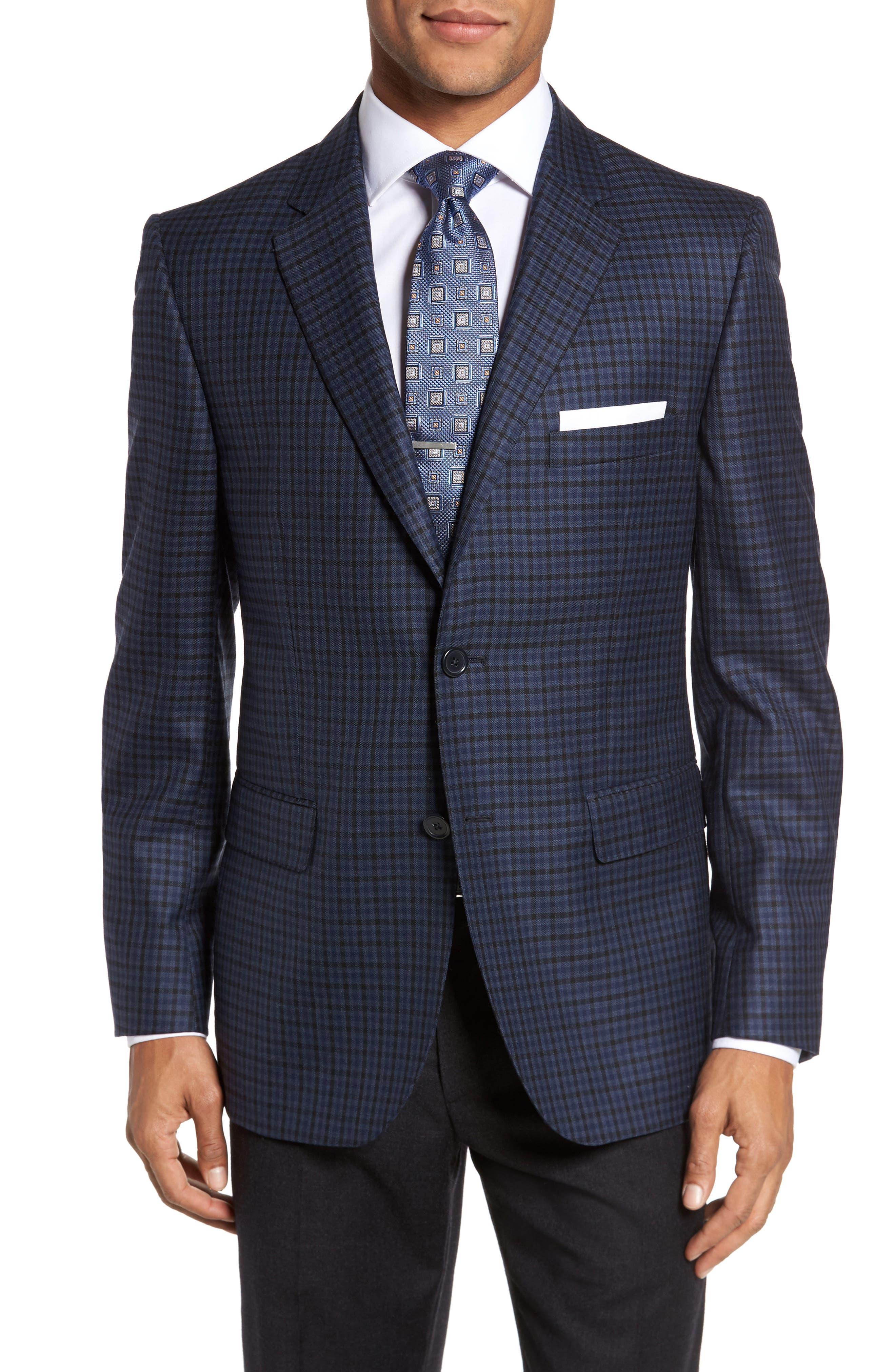 Classic Fit Plaid Wool Sport Coat,                         Main,                         color, Navy