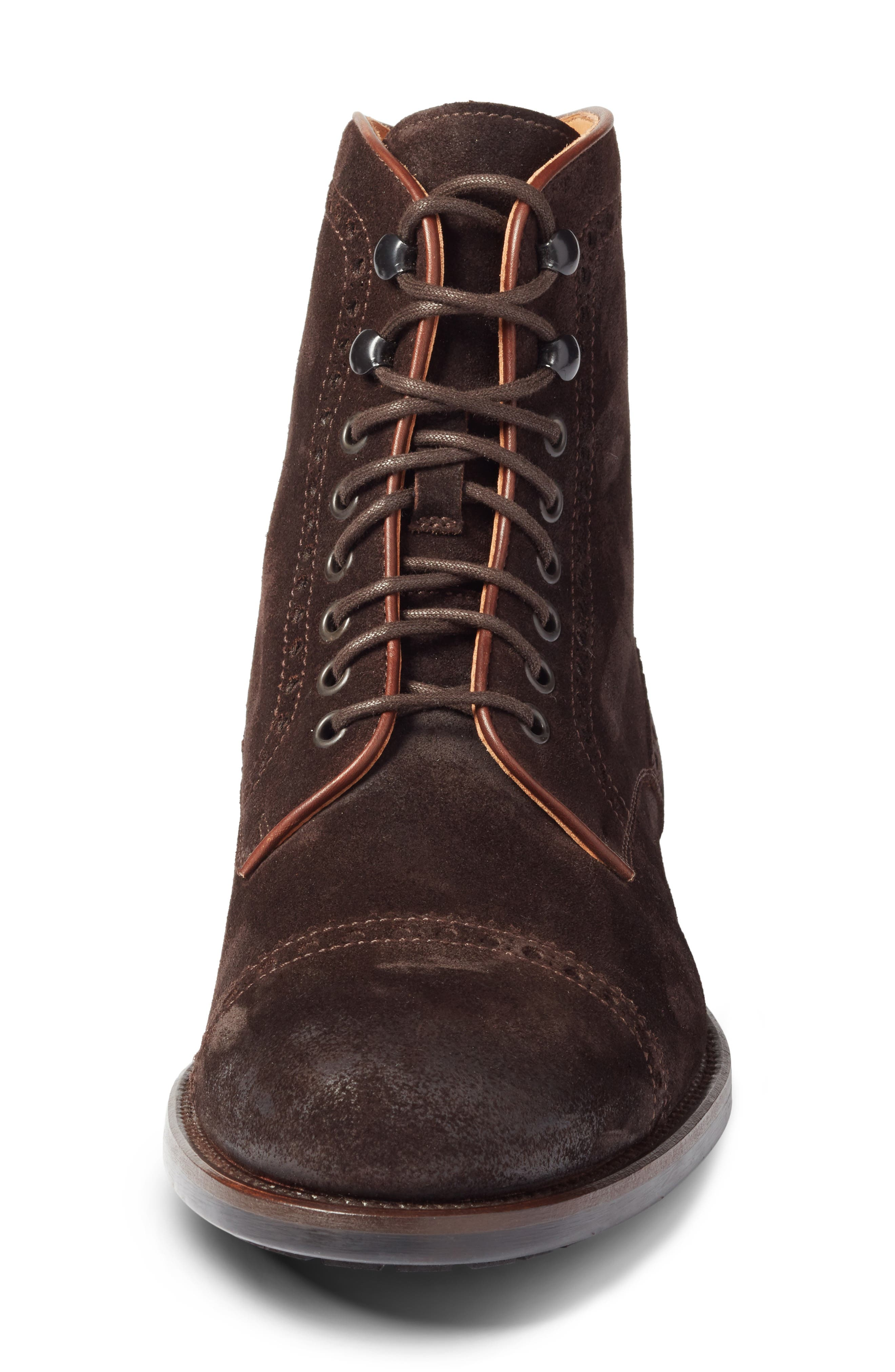 Palmer Cap Toe Boot,                             Alternate thumbnail 4, color,                             Brown Suede