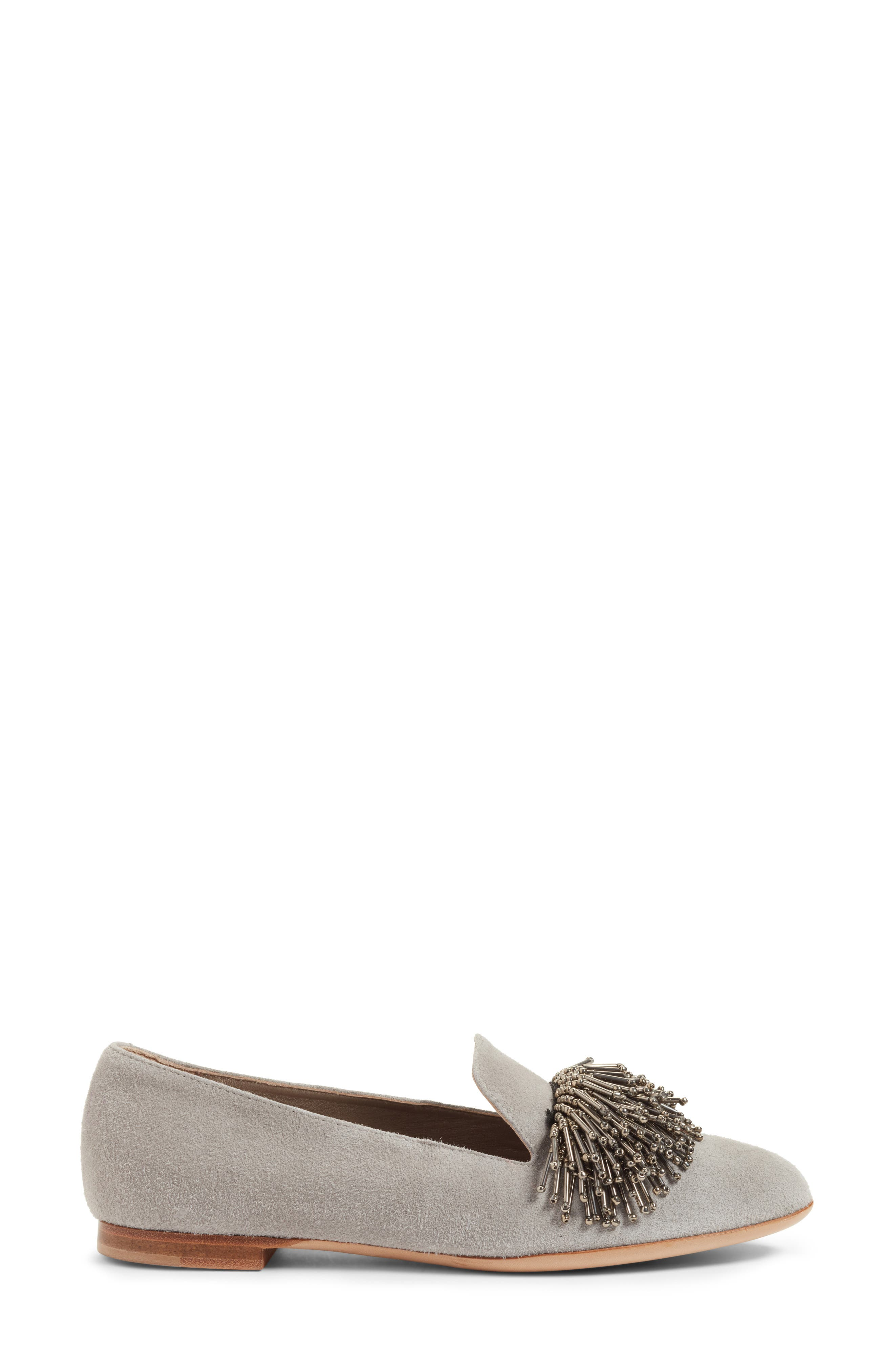 Beaded Loafer,                             Alternate thumbnail 3, color,                             Cube Grey Suede