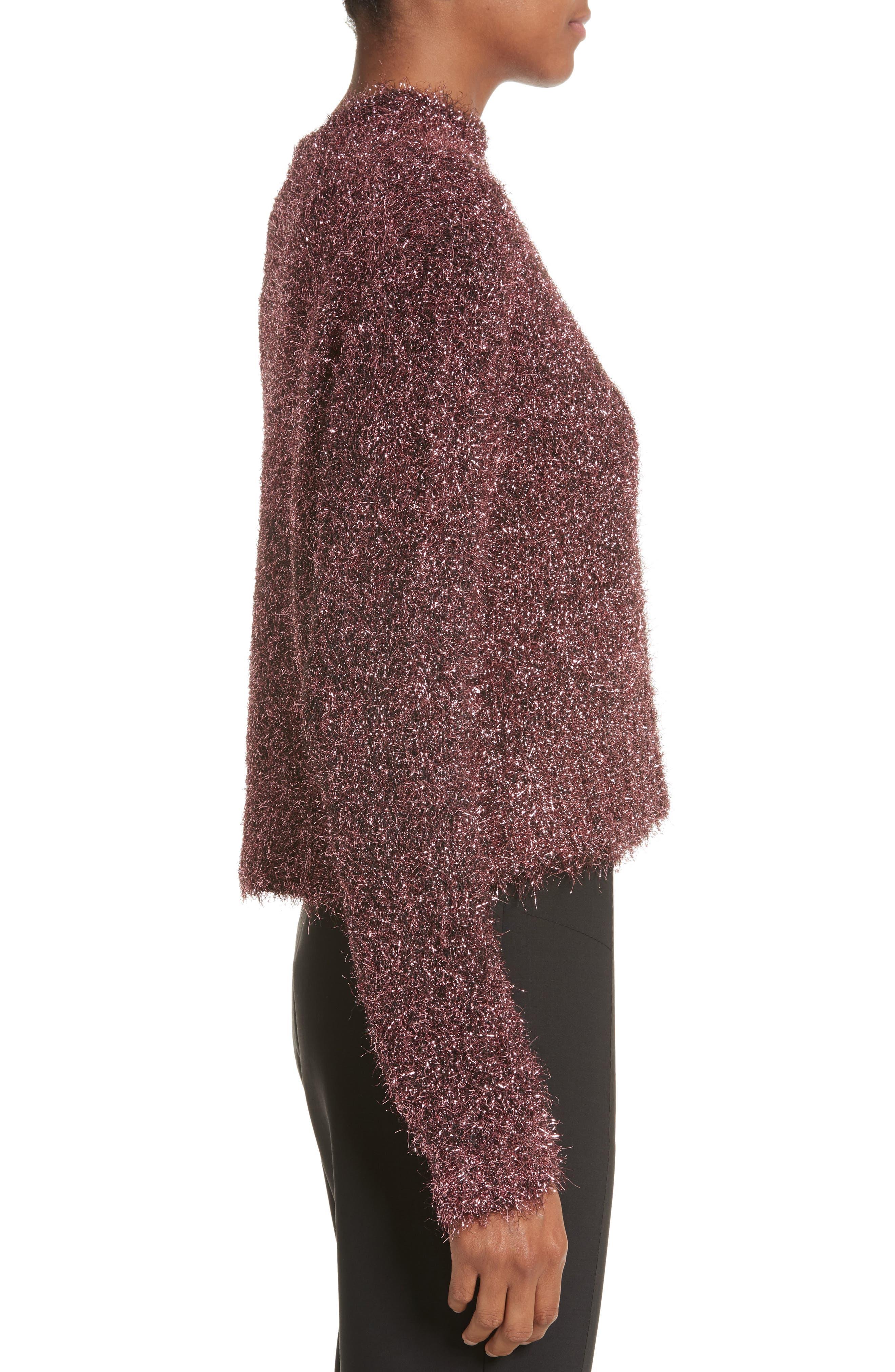Vaporize Textured Metallic Sweater,                             Alternate thumbnail 3, color,                             Pink