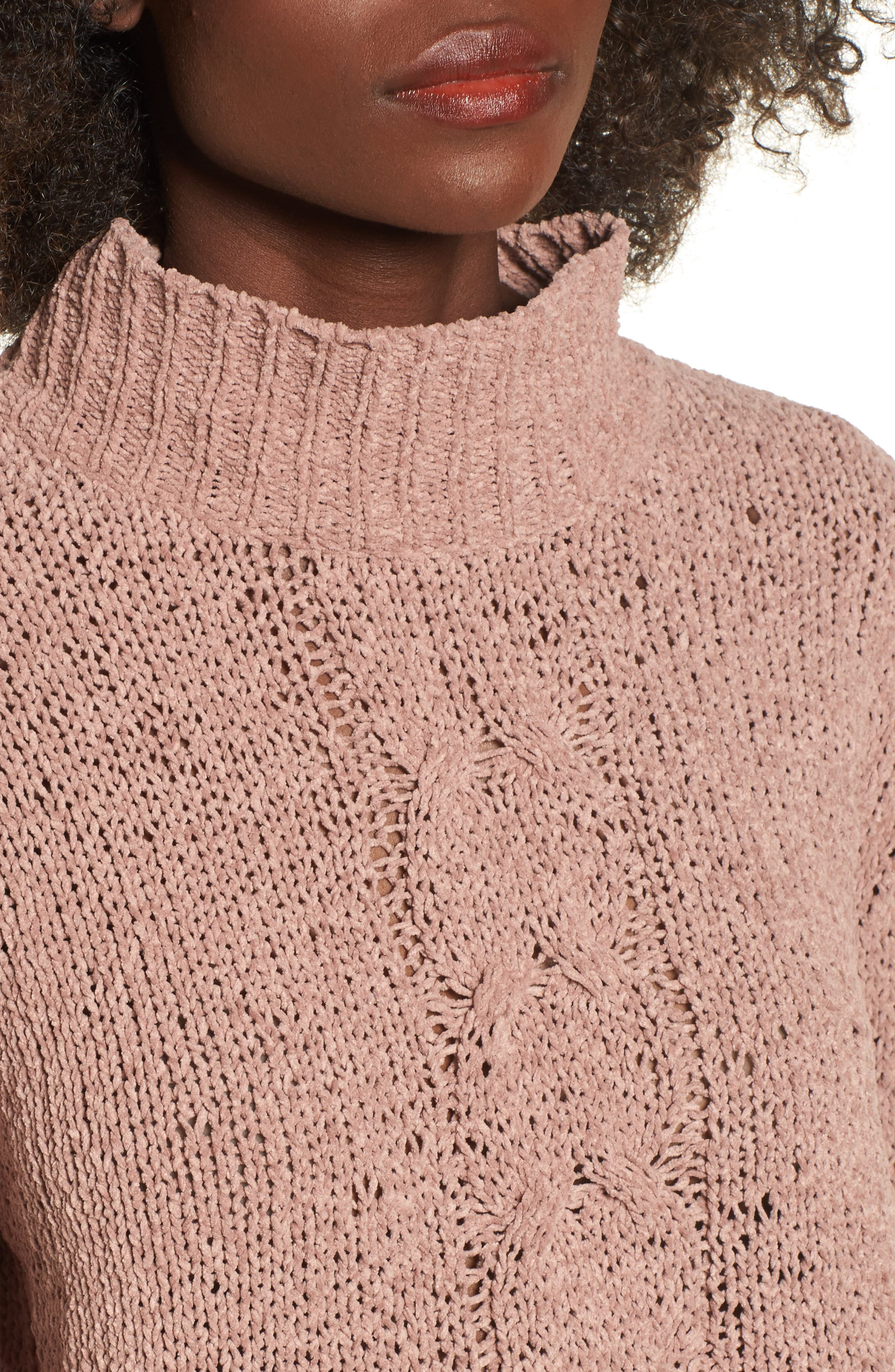 Jolie Chenille Sweater,                             Alternate thumbnail 4, color,                             Mauve