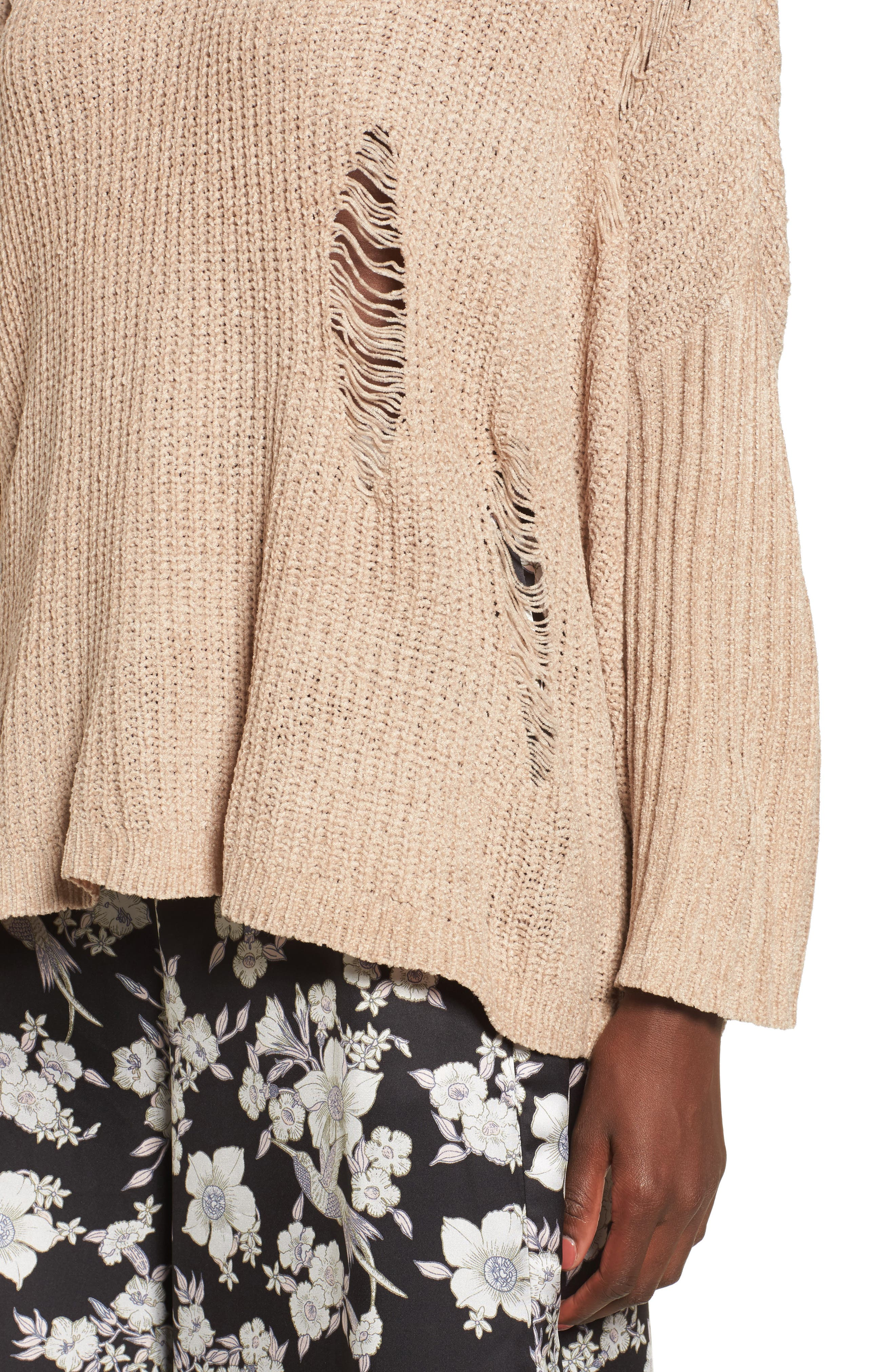 Lily Rose Distressed Sweater,                             Alternate thumbnail 4, color,                             Stone