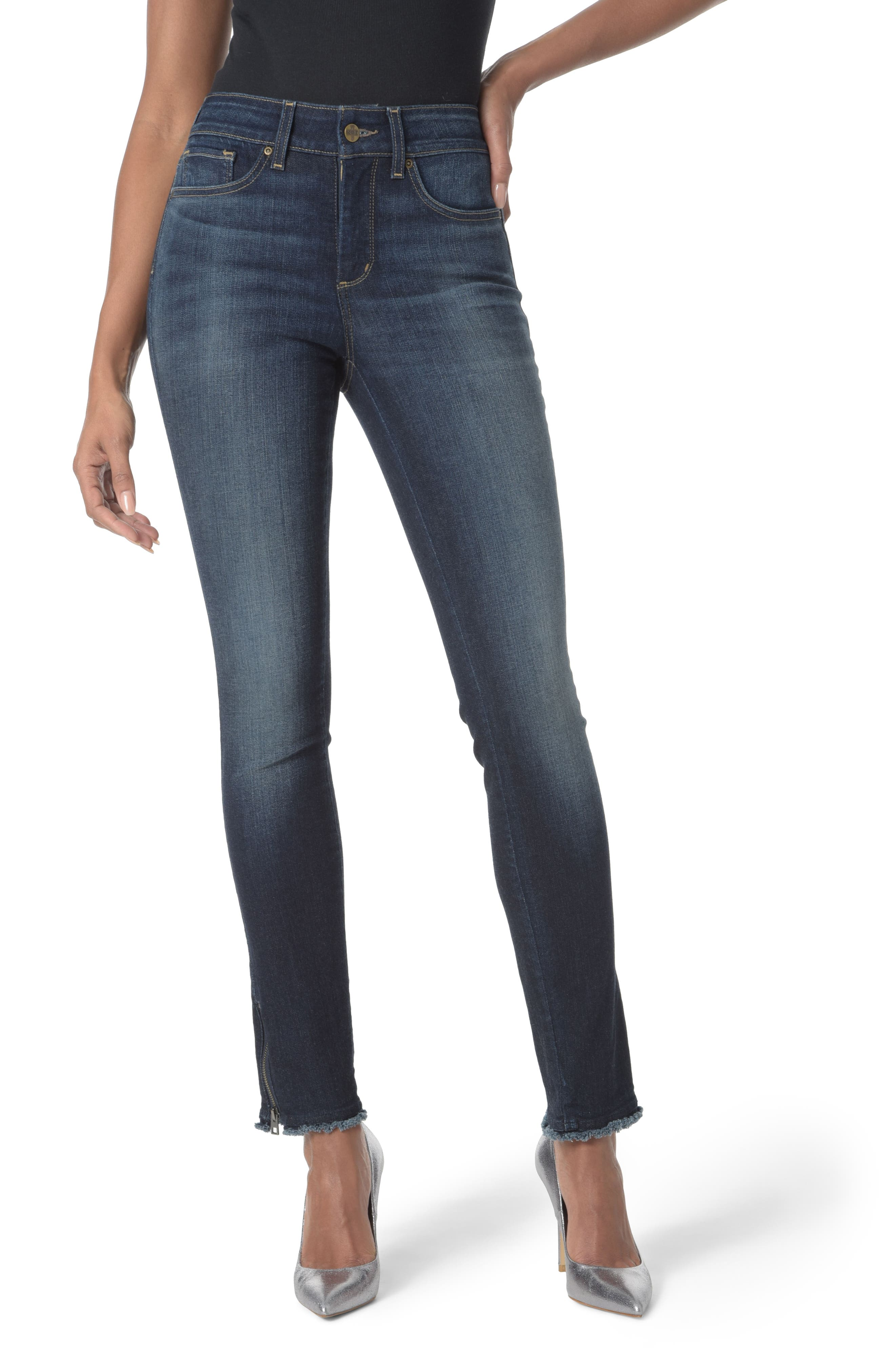 Zip Hem Stretch Skinny Ankle Jeans,                             Main thumbnail 1, color,                             Bezel