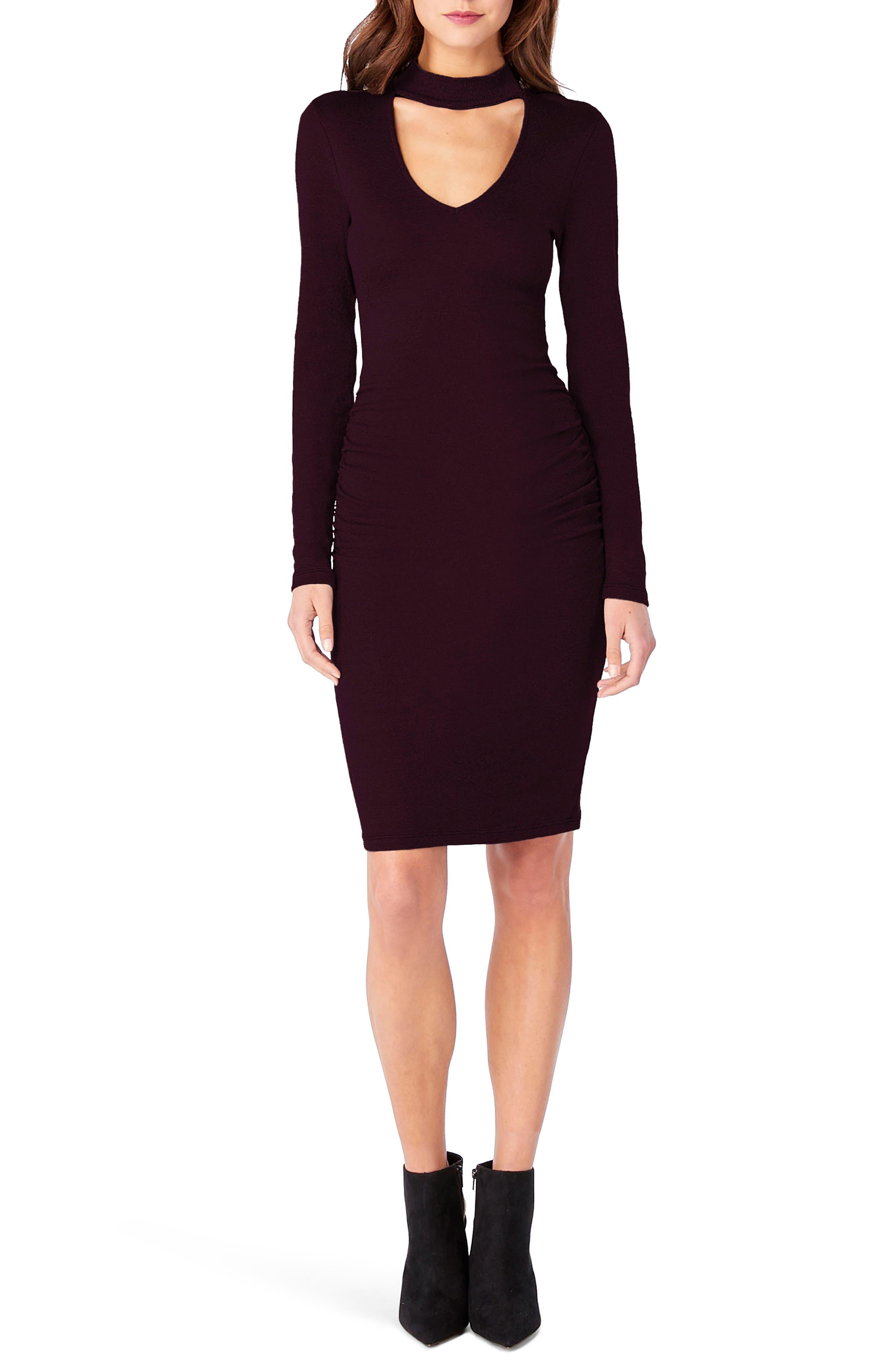Shine Choker Neck Body-Con Dress,                         Main,                         color, Rumba