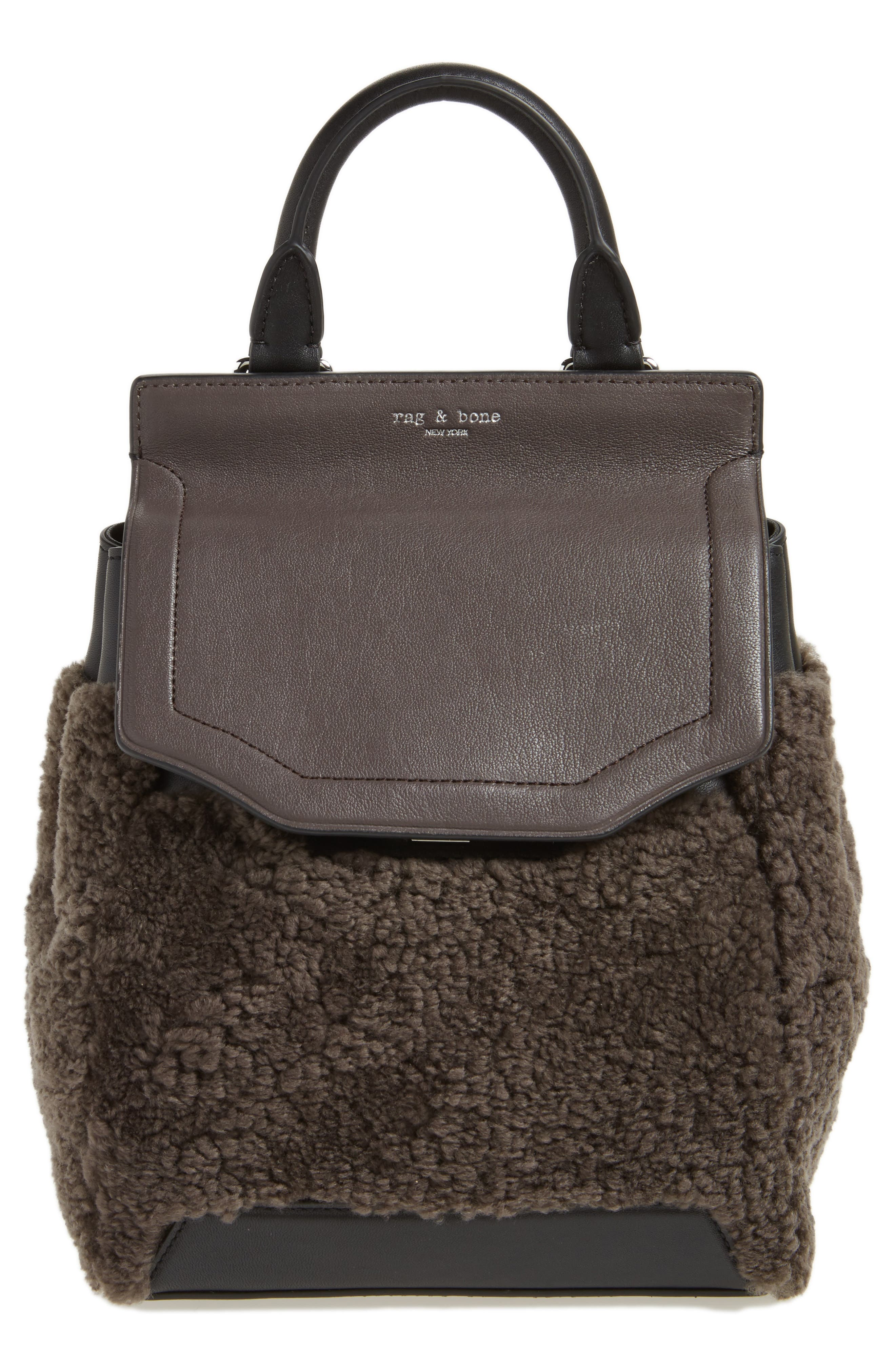 Small Pilot Leather & Genuine Shearling Backpack,                             Main thumbnail 1, color,                             Granite Shearling