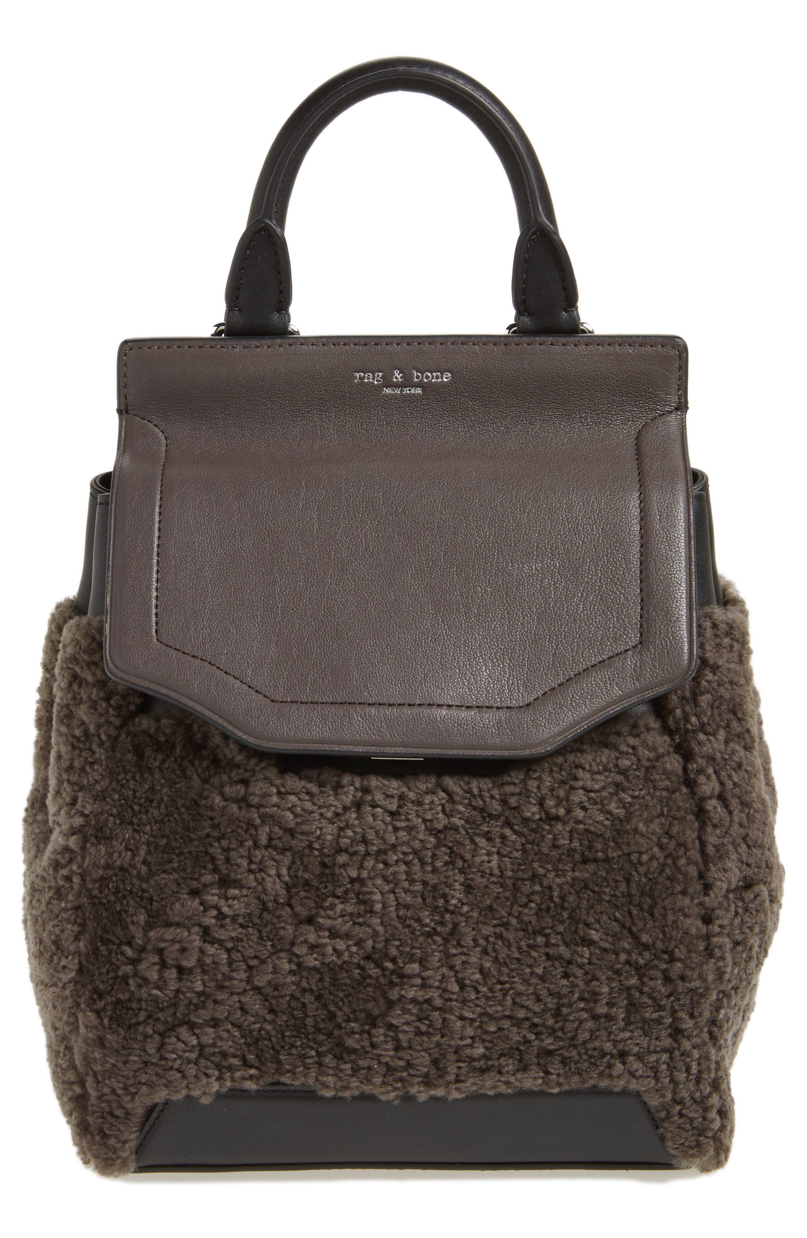Small Pilot Leather & Genuine Shearling Backpack,                         Main,                         color, Granite Shearling