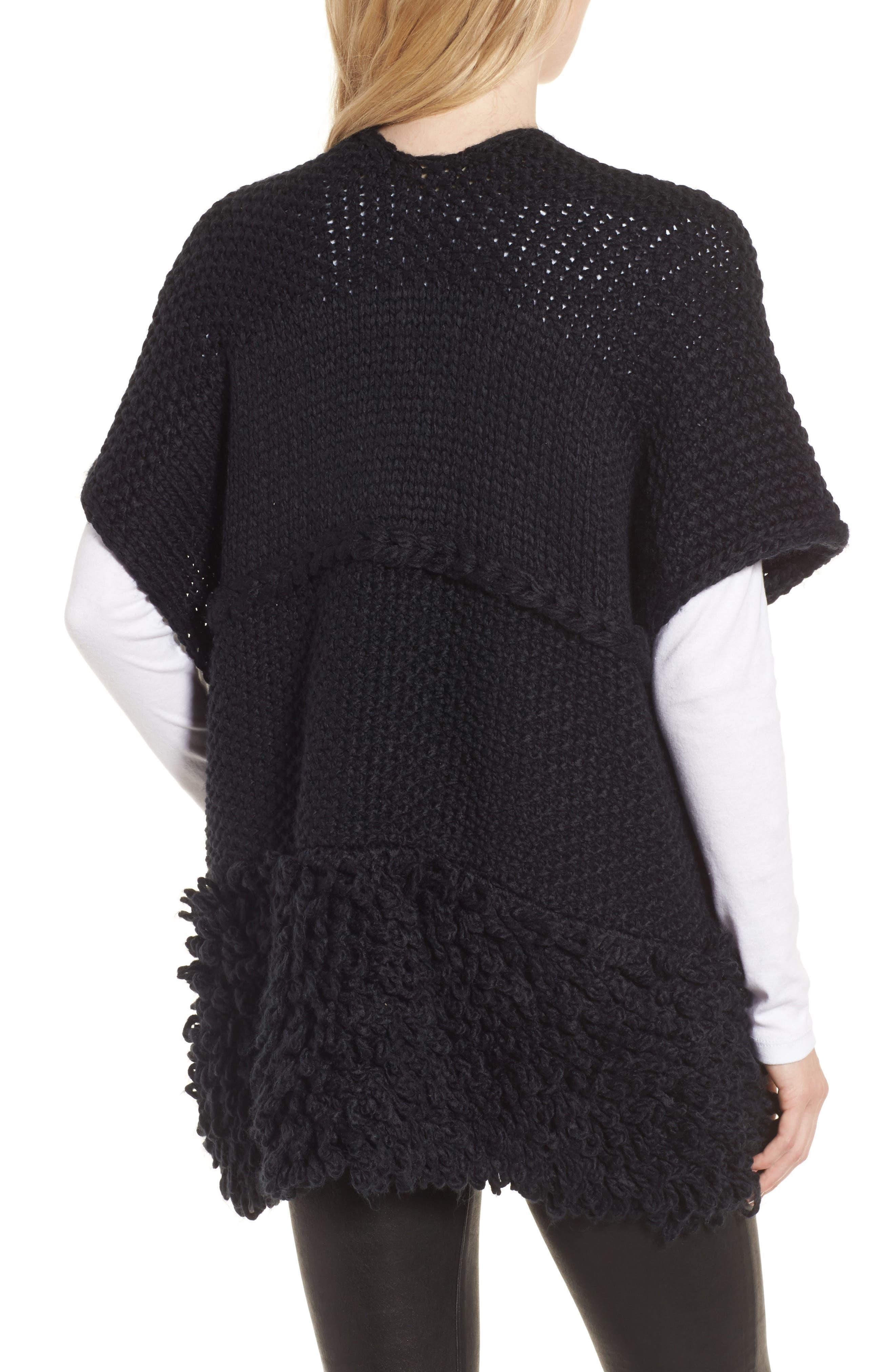 Knit Poncho,                             Alternate thumbnail 2, color,                             Black