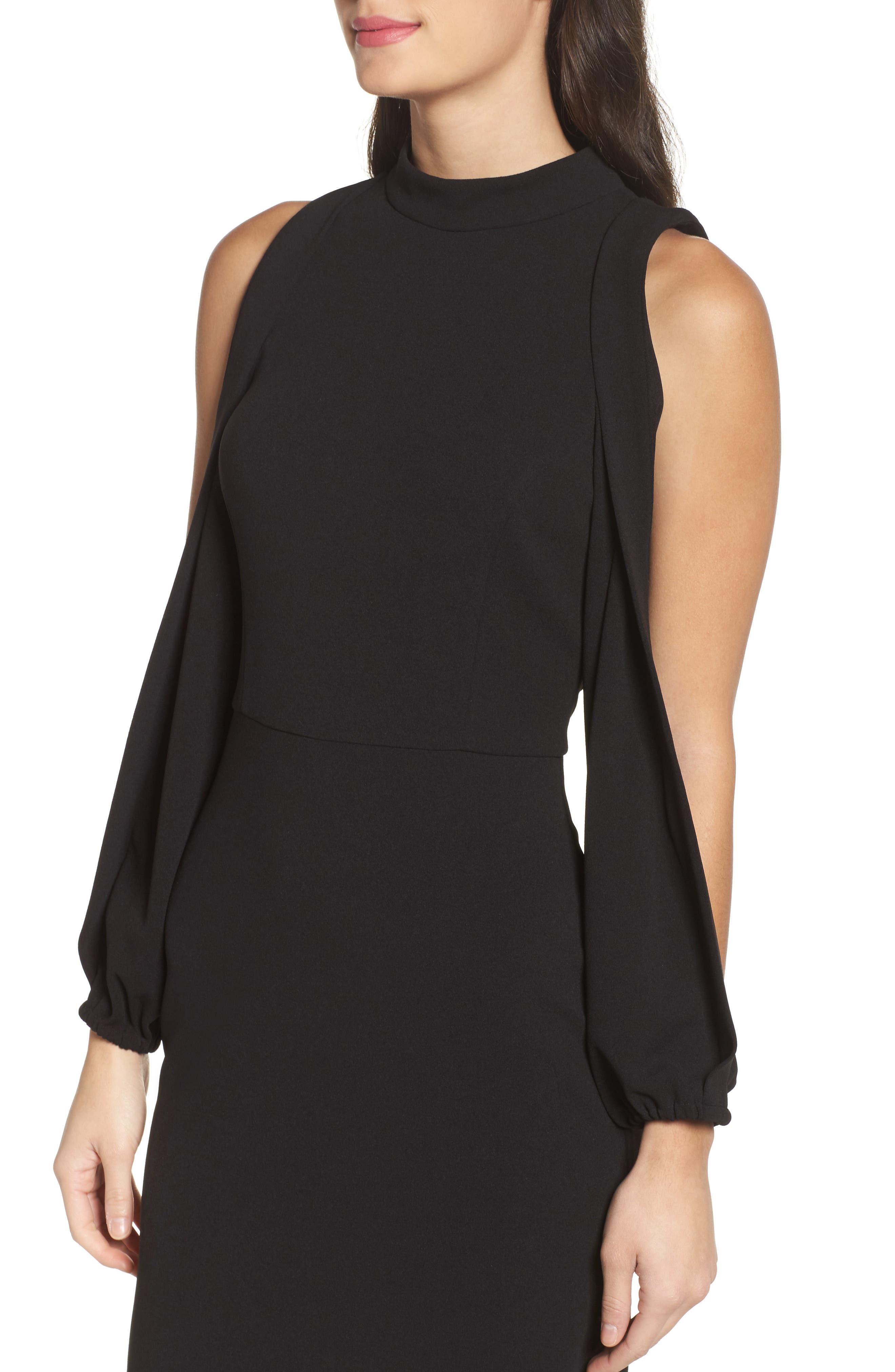 Split Sleeve Shift Dress,                             Alternate thumbnail 4, color,                             Black