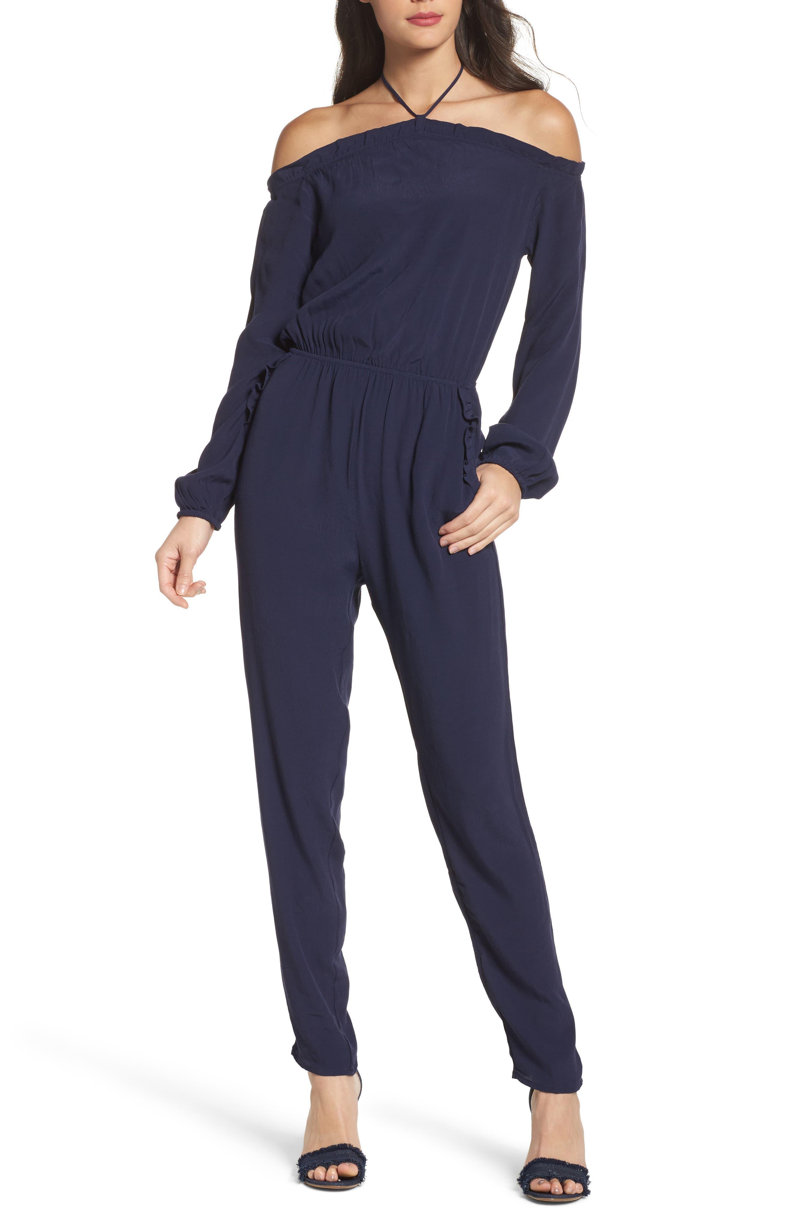 Cold Shoulder Halter Jumpsuit,                         Main,                         color, Navy