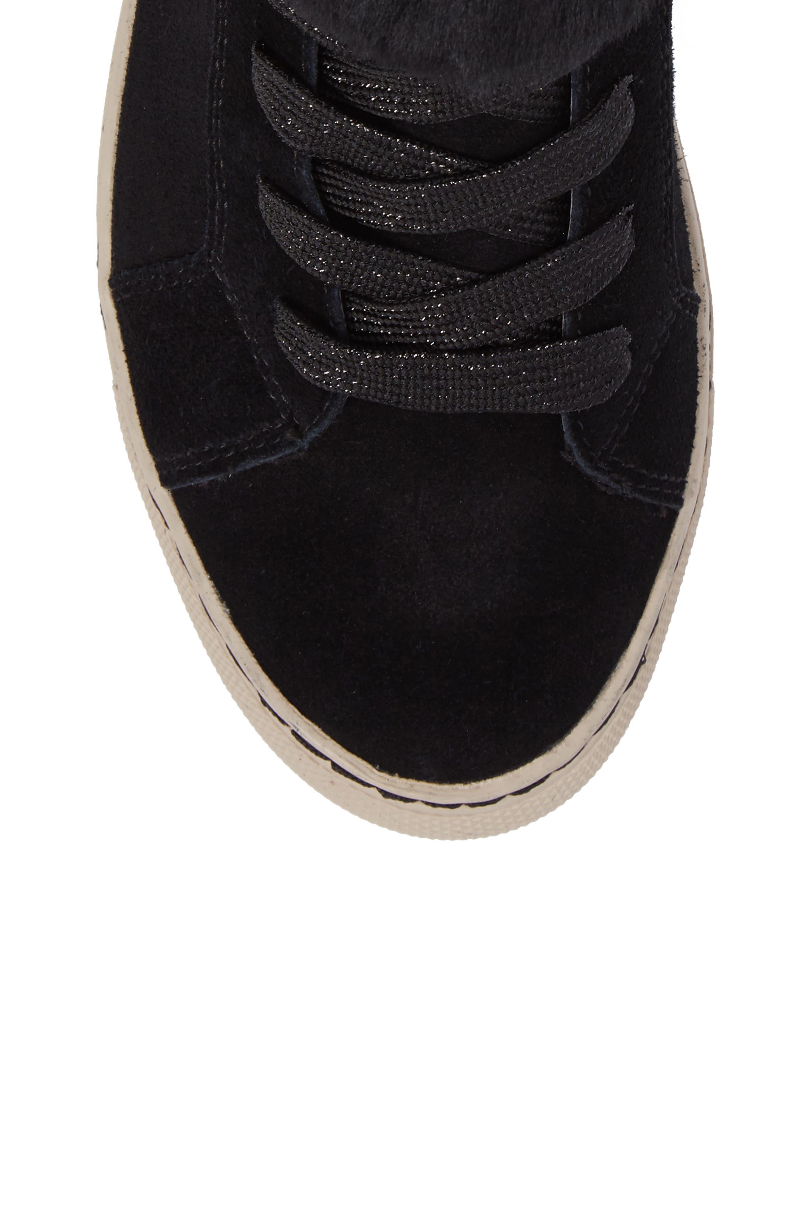 Downey Waterproof Genuine Shearling Sneaker,                             Alternate thumbnail 5, color,                             Black Suede