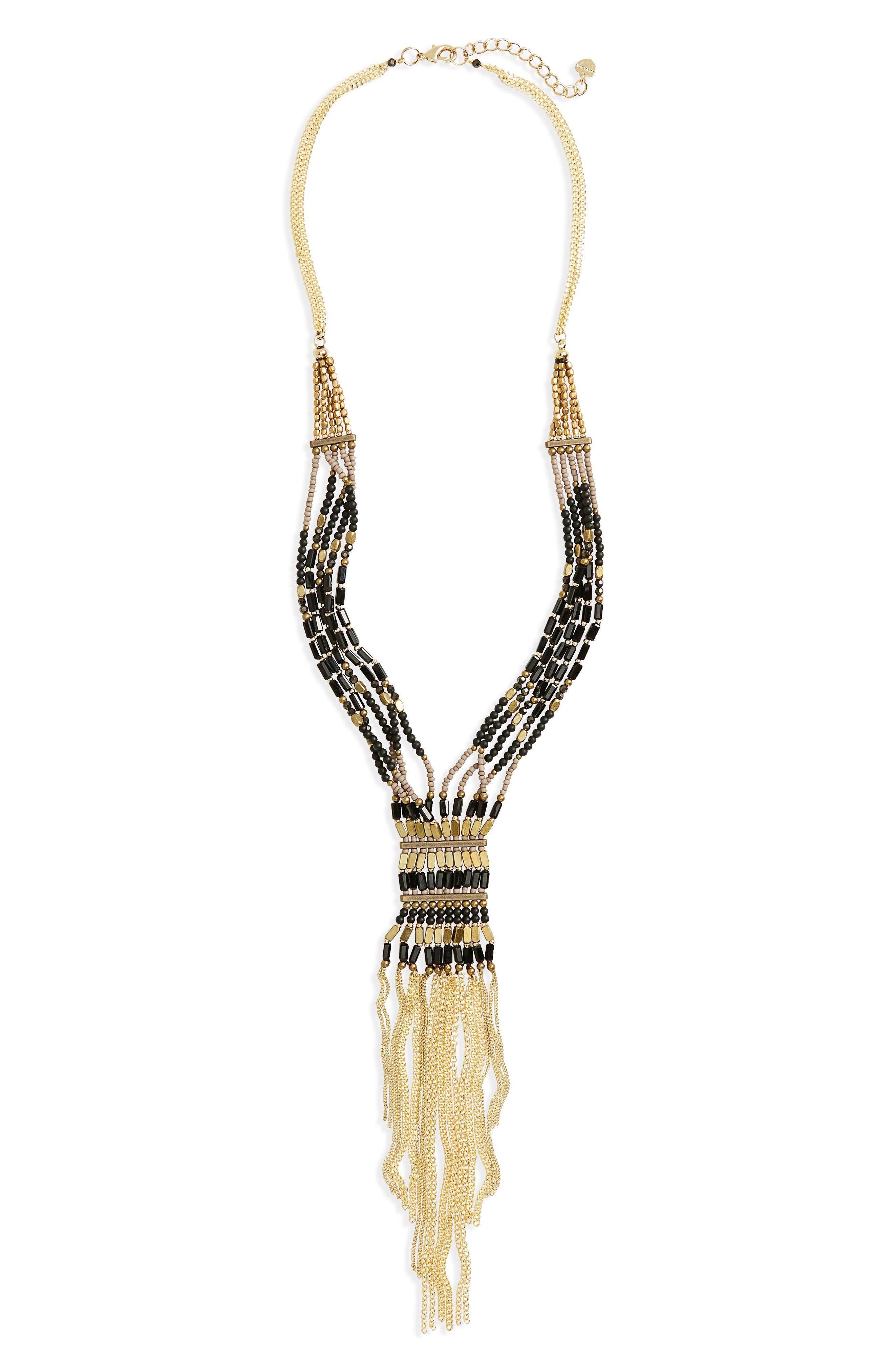 Main Image - Nakamol Design Stone & Seed Bead Fringe Statement Necklace