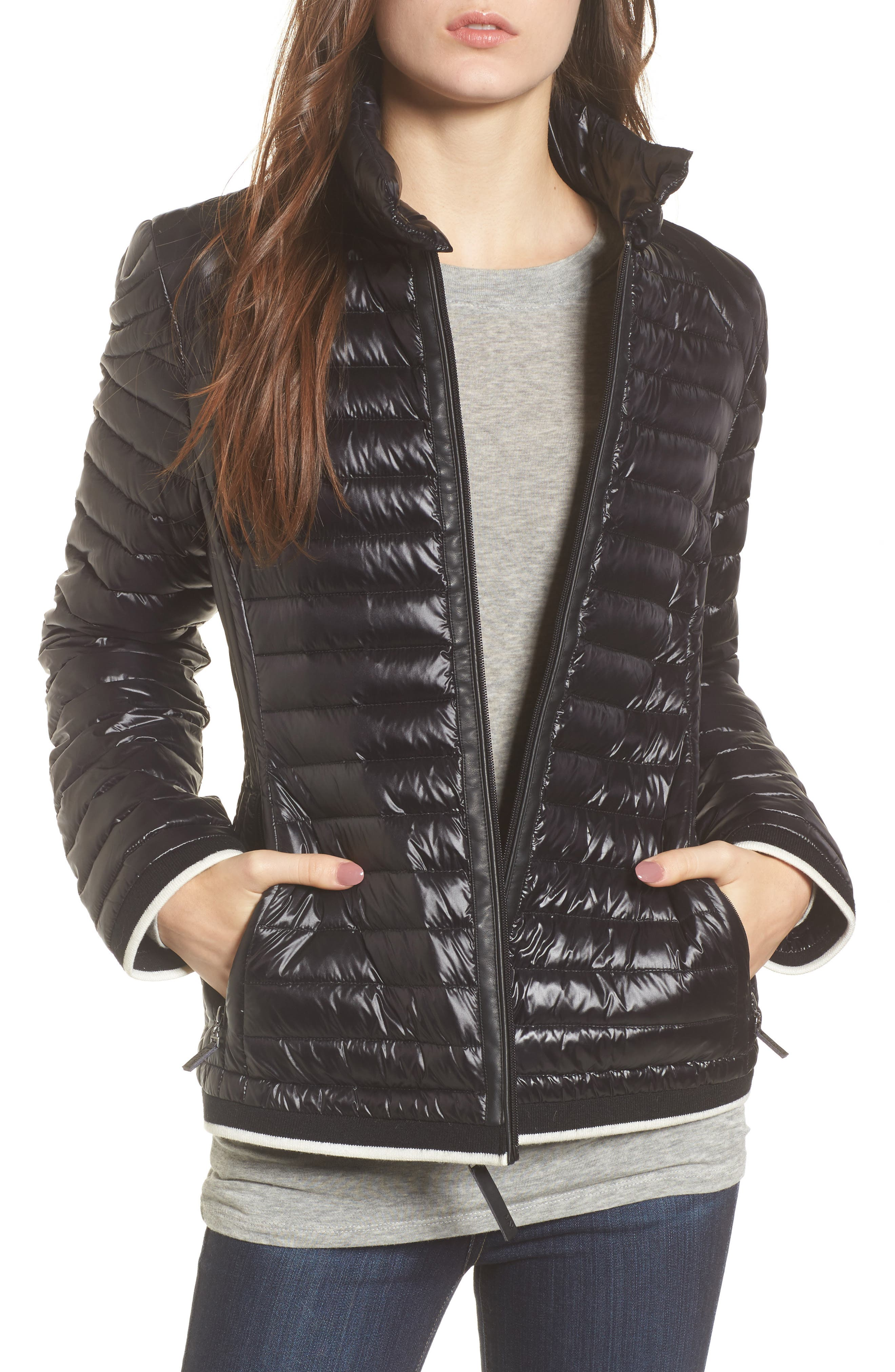 Main Image - Marc New York Stripe Trim Packable Down Jacket