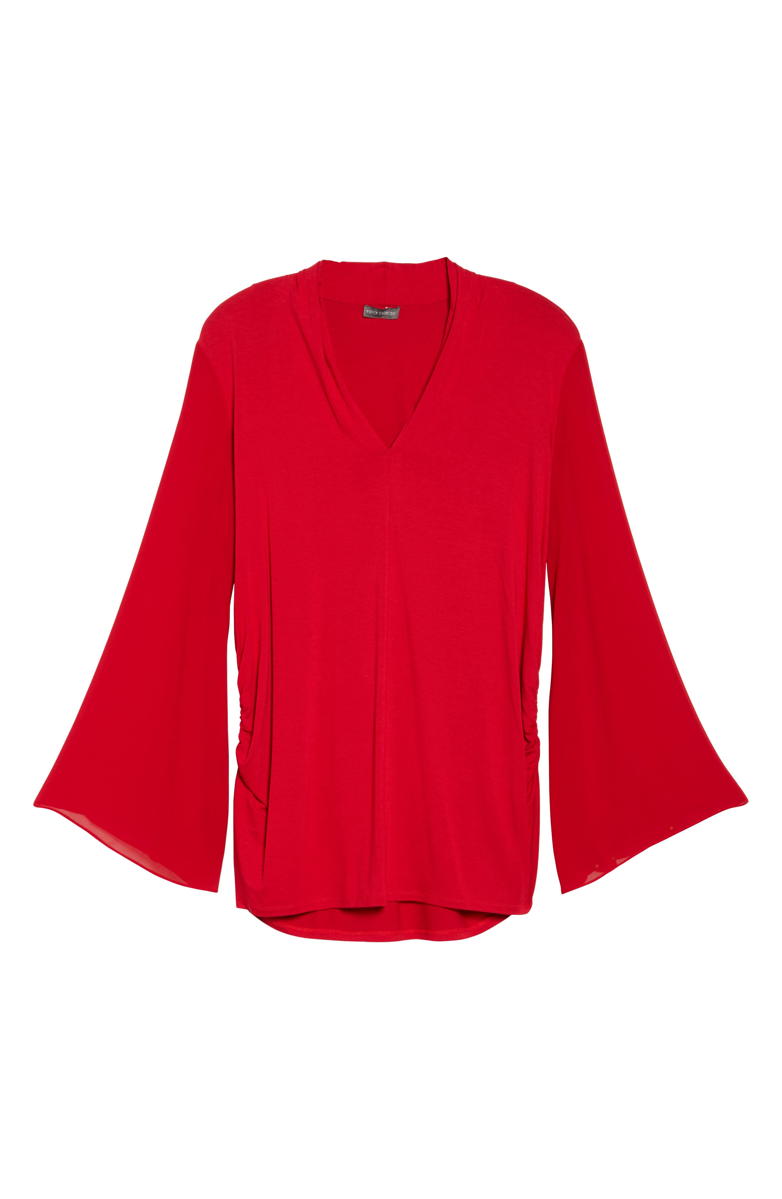 Ruched Bell Sleeve Chiffon Blouse,                             Alternate thumbnail 6, color,                             True Crimson