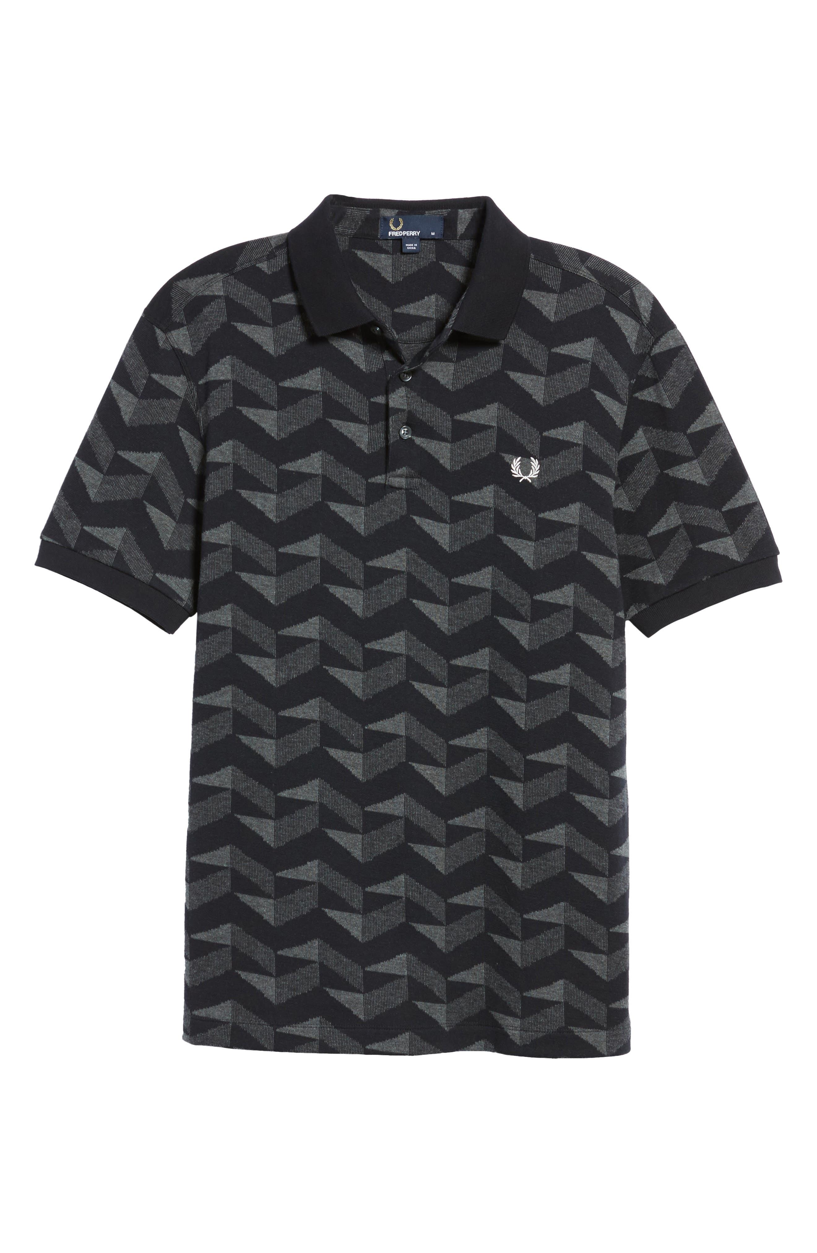 Jacquard Piqué Polo,                             Alternate thumbnail 6, color,                             Black