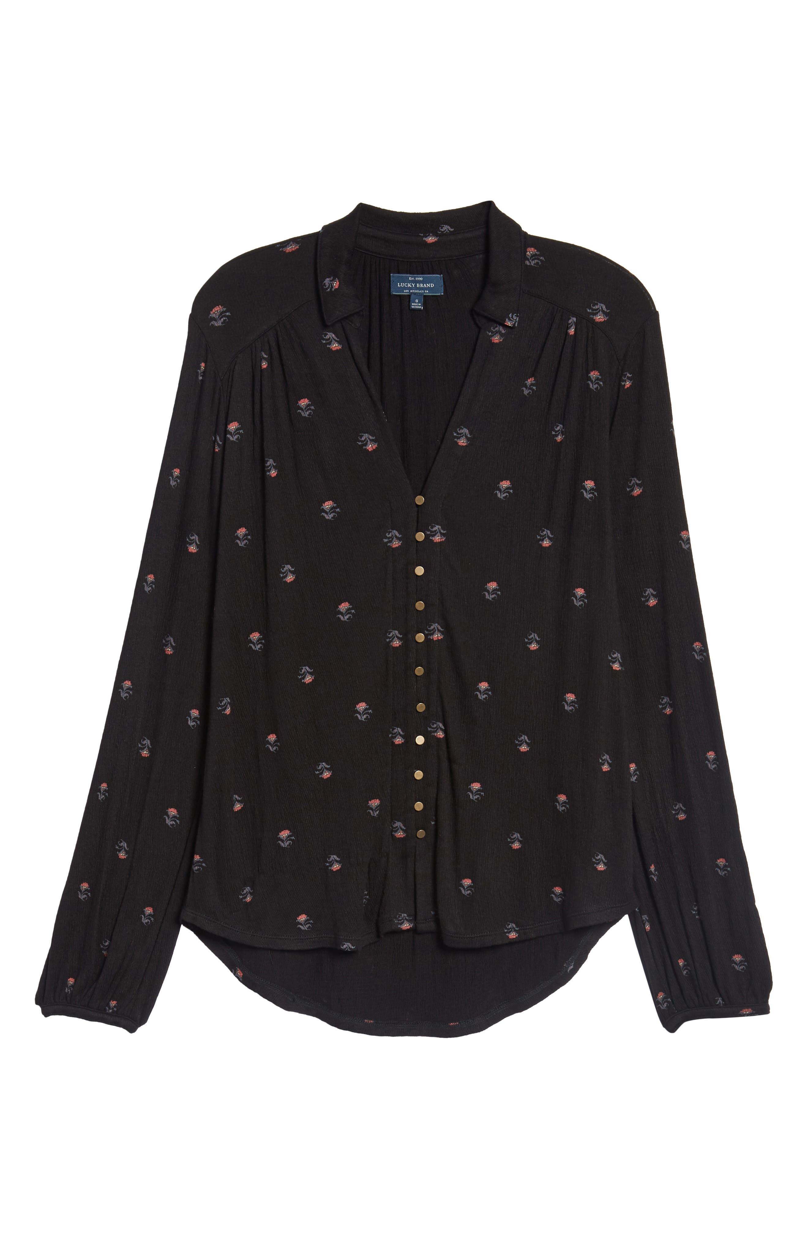 Ditsy Button-Up Shirt,                             Alternate thumbnail 6, color,                             Black Multi