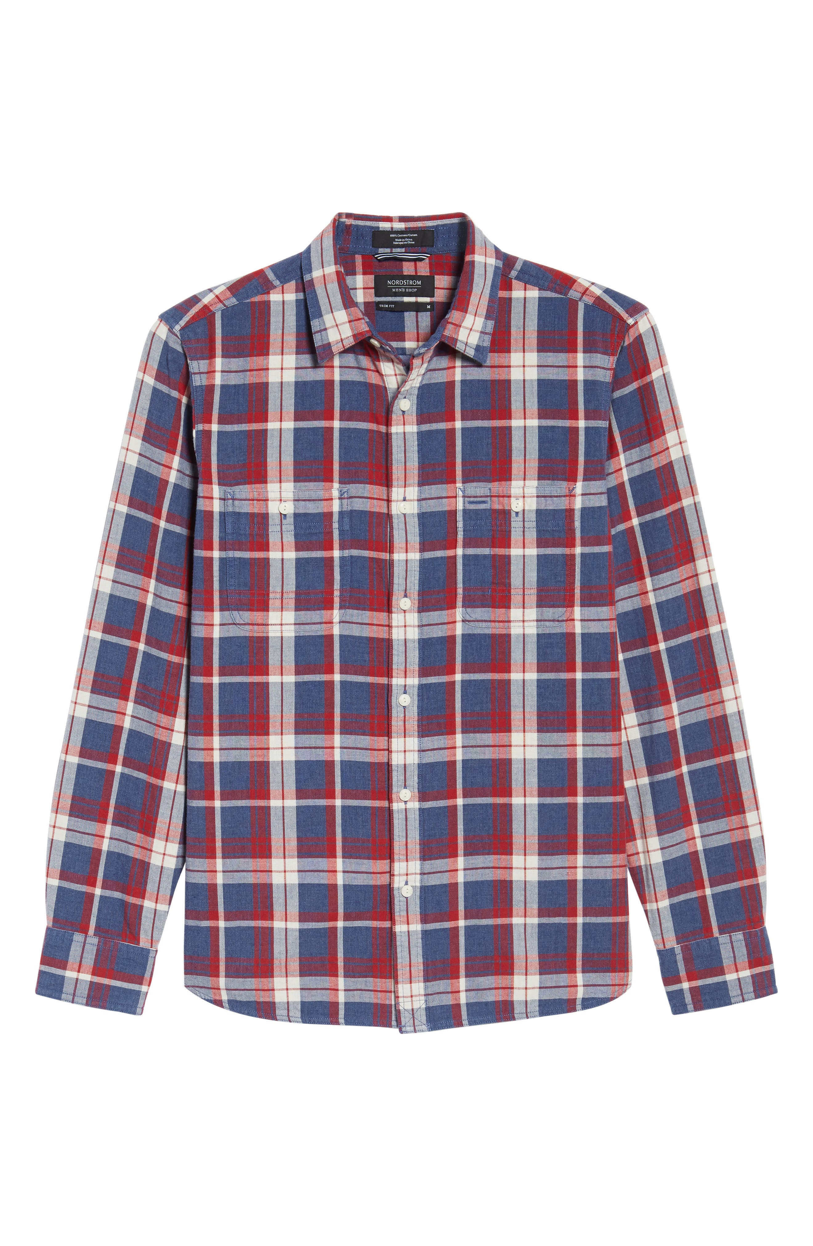 Trim Fit Workwear Duofold Plaid Sport Shirt,                             Alternate thumbnail 6, color,                             Blue Ensign Red Plaid Duofold