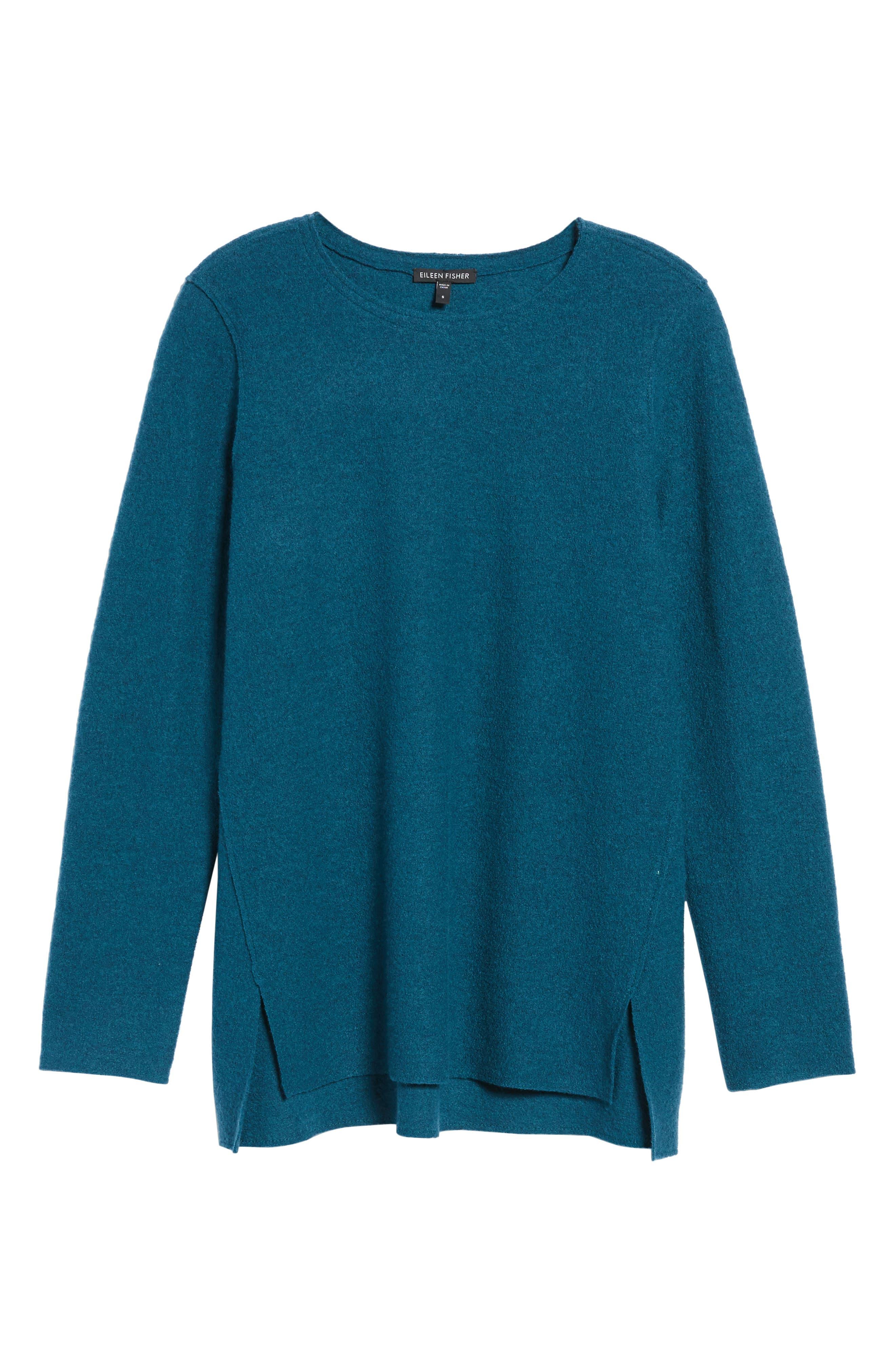 Boiled Merino Wool Top,                             Alternate thumbnail 6, color,                             Blue Spruce