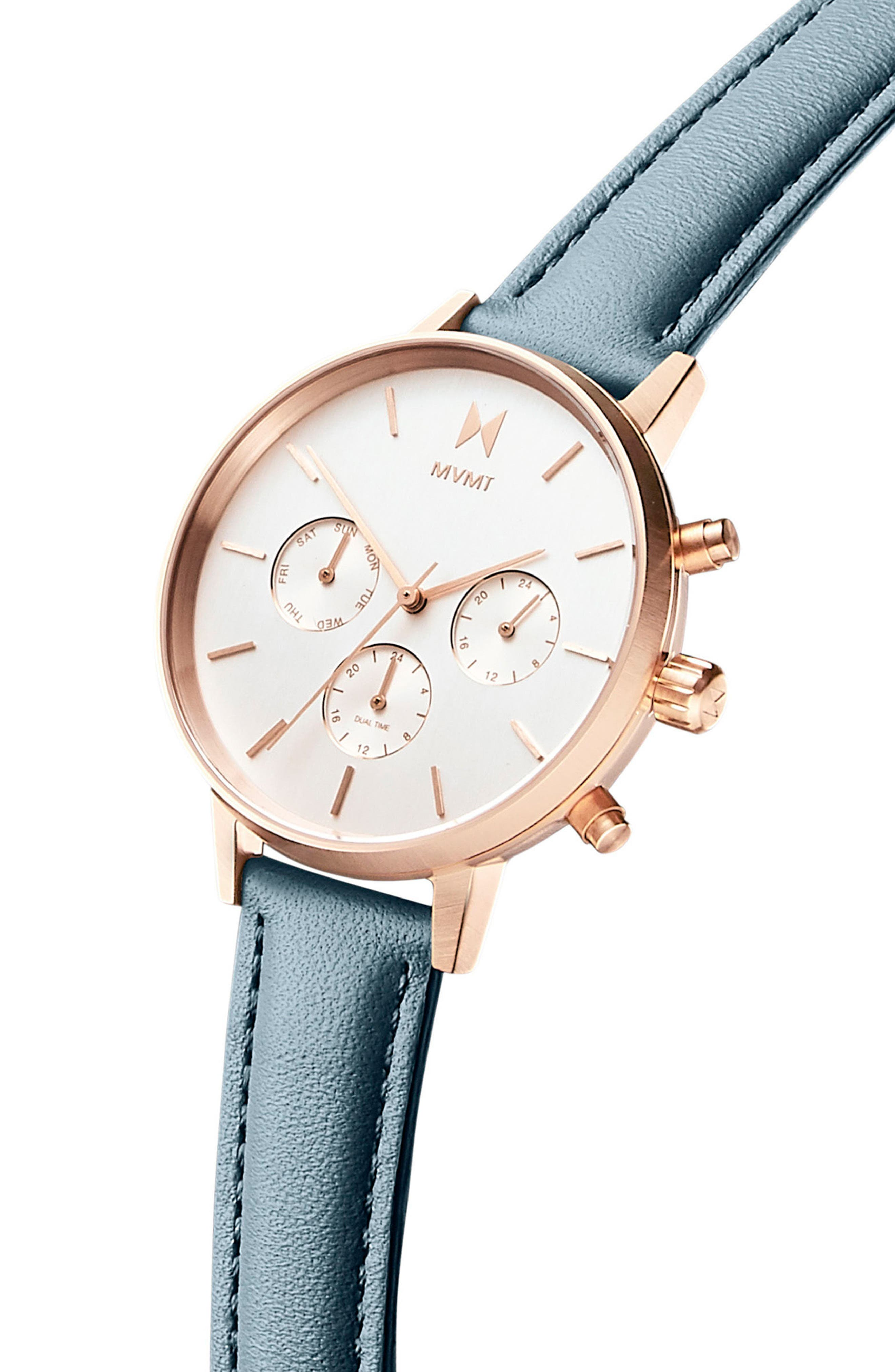 Nova Chronograph Leather Strap Watch, 38mm,                             Alternate thumbnail 3, color,                             Slate/ Beige/ Rose Gold