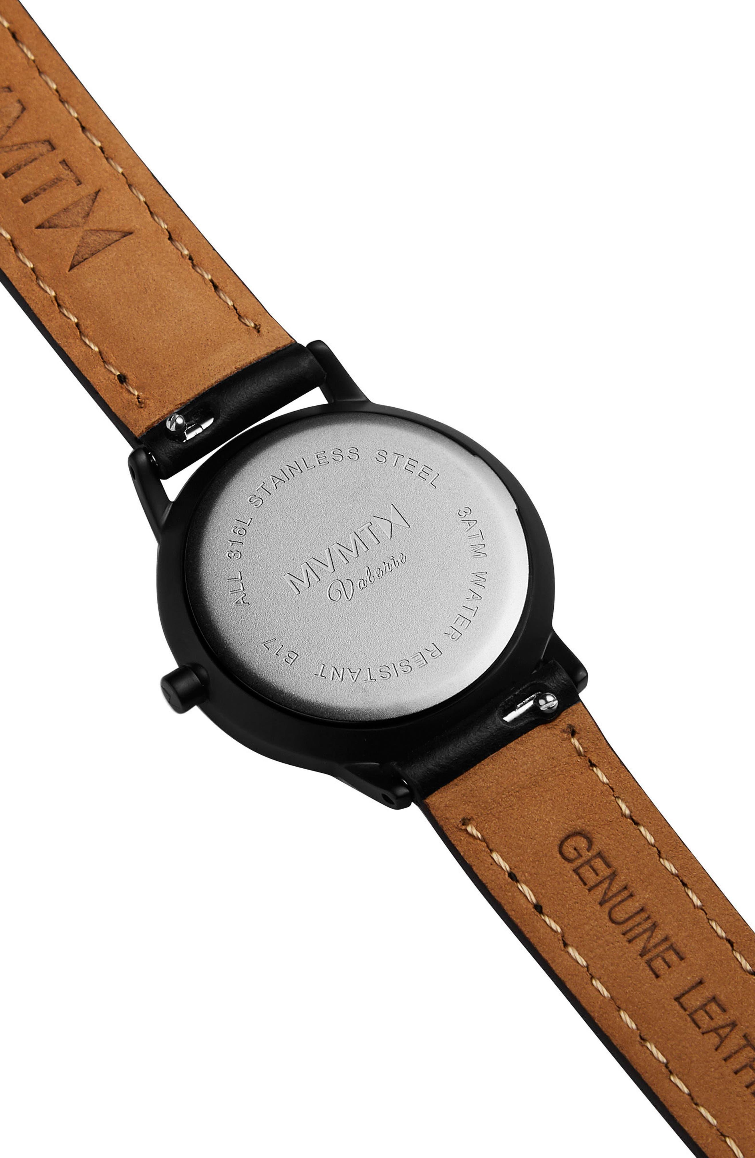 Belamar Leather Strap Watch, 28mm,                             Alternate thumbnail 2, color,                             Black