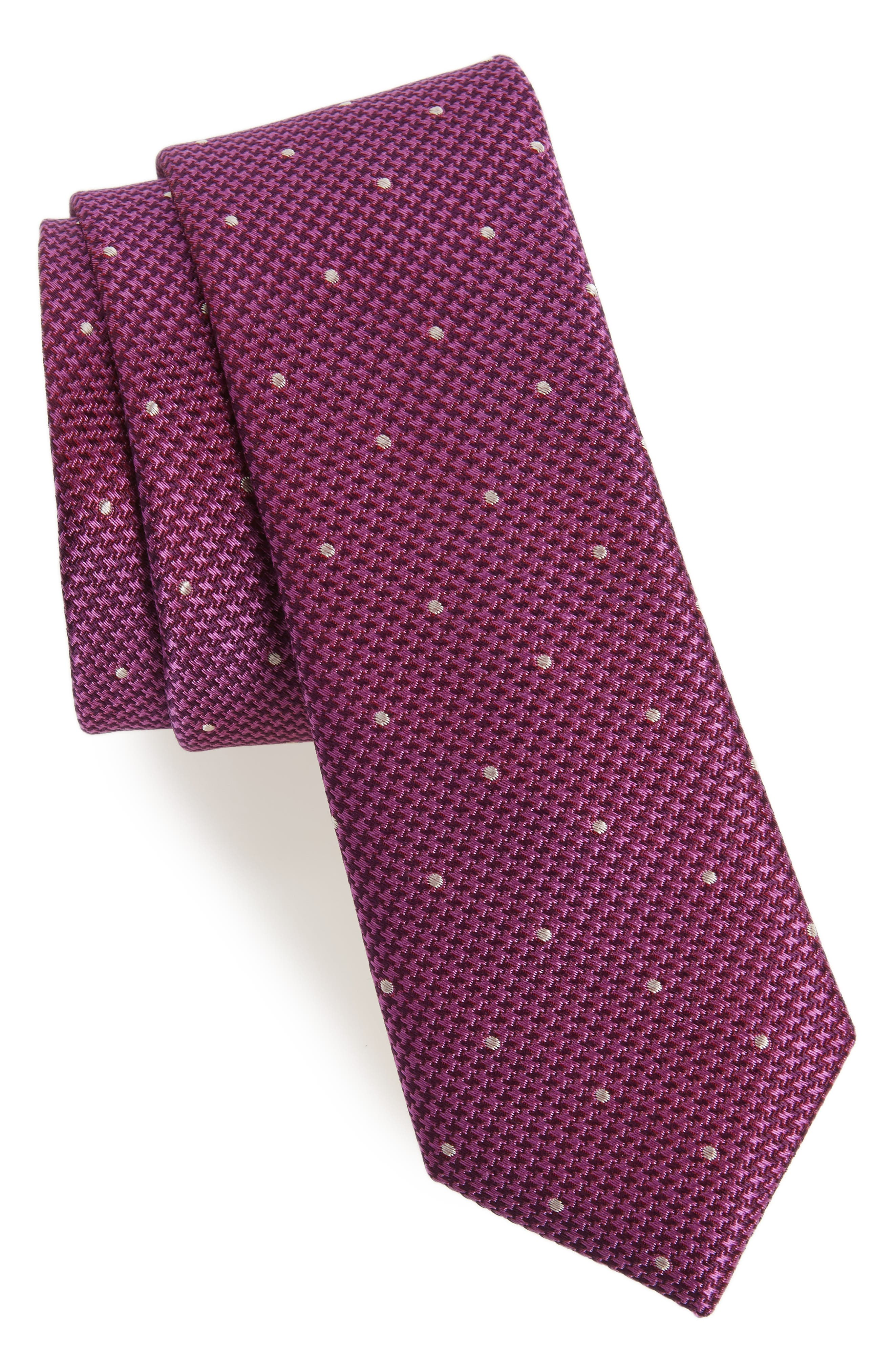 Houndstooth Dot Silk Tie,                         Main,                         color, Berry