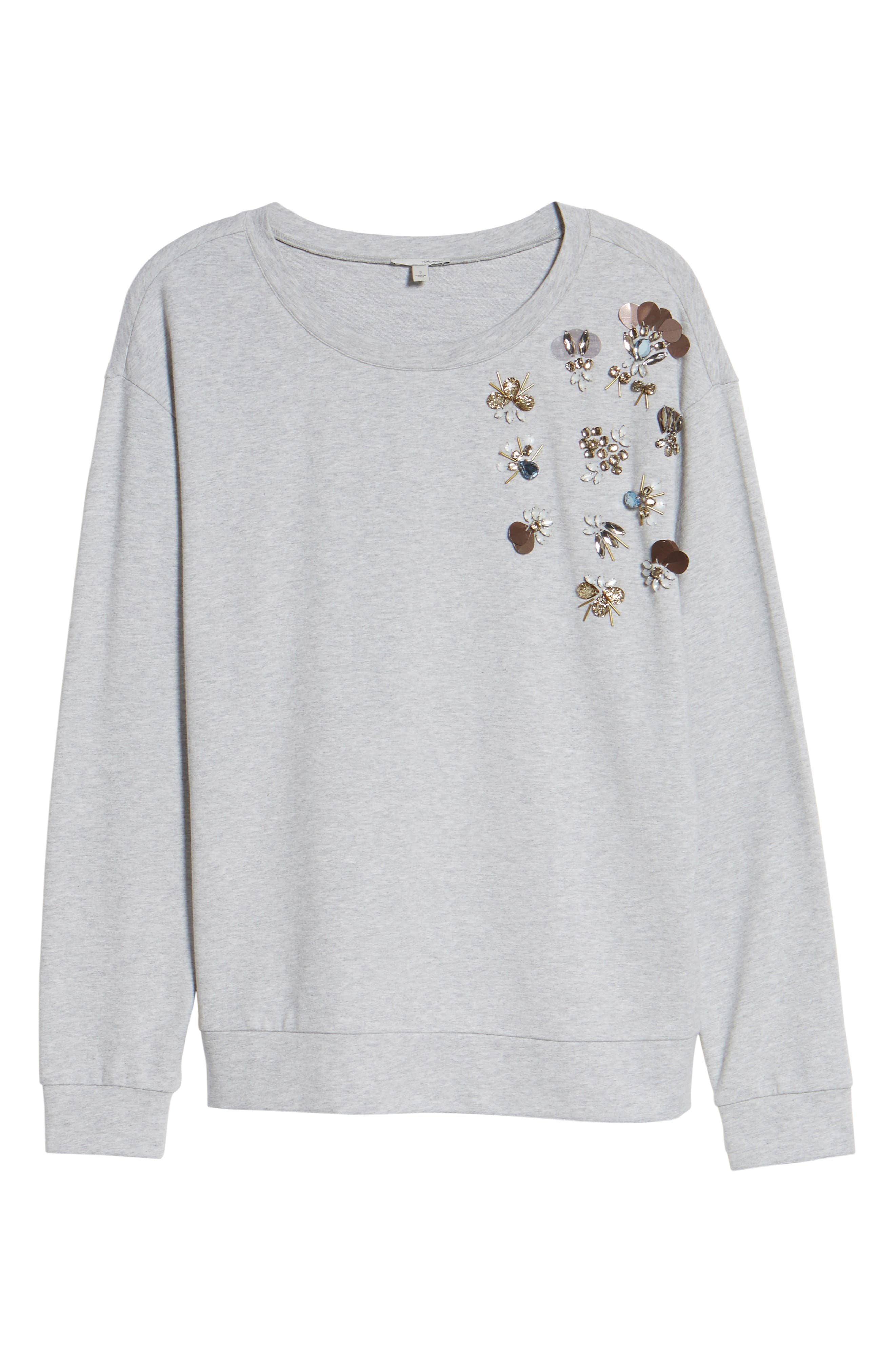 Embellished Sweatshirt,                             Alternate thumbnail 7, color,                             Grey Heather