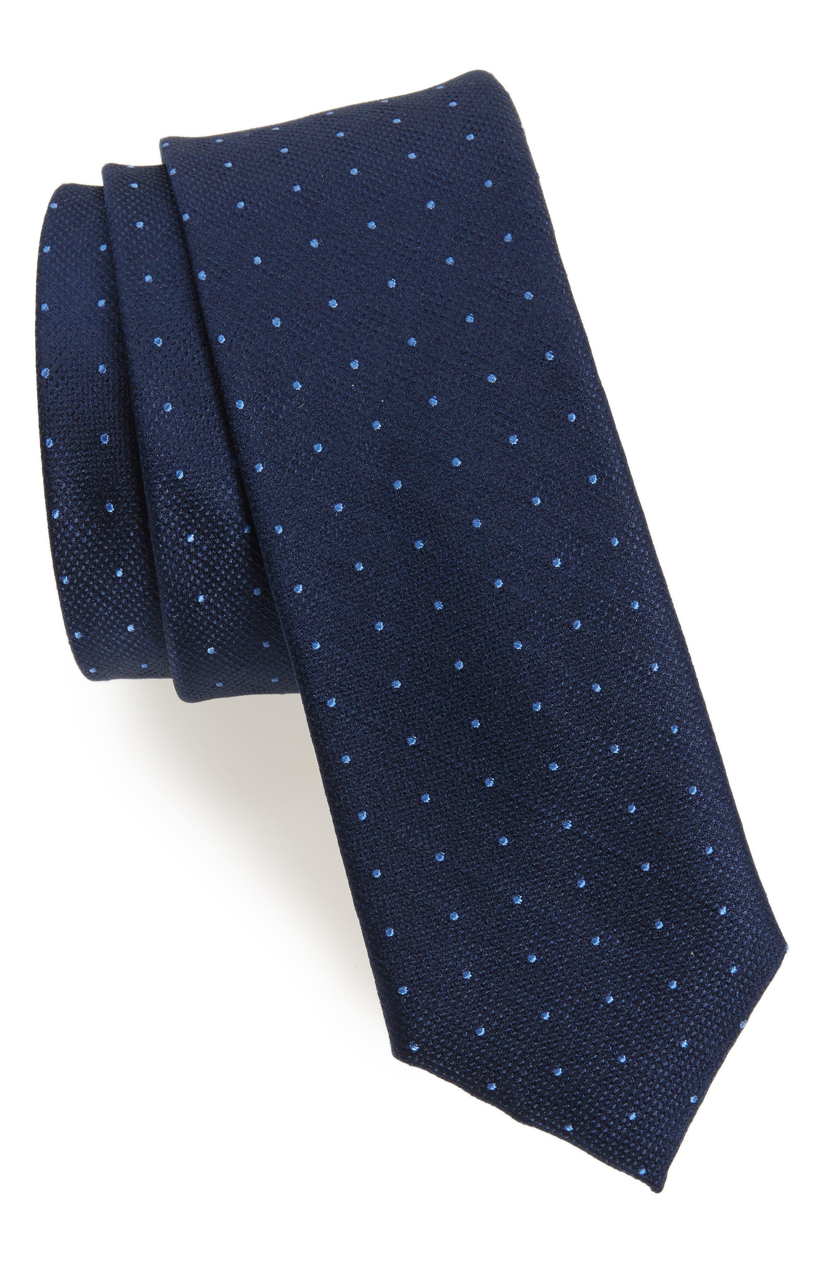 Pebble Dot Silk Tie,                         Main,                         color, Navy