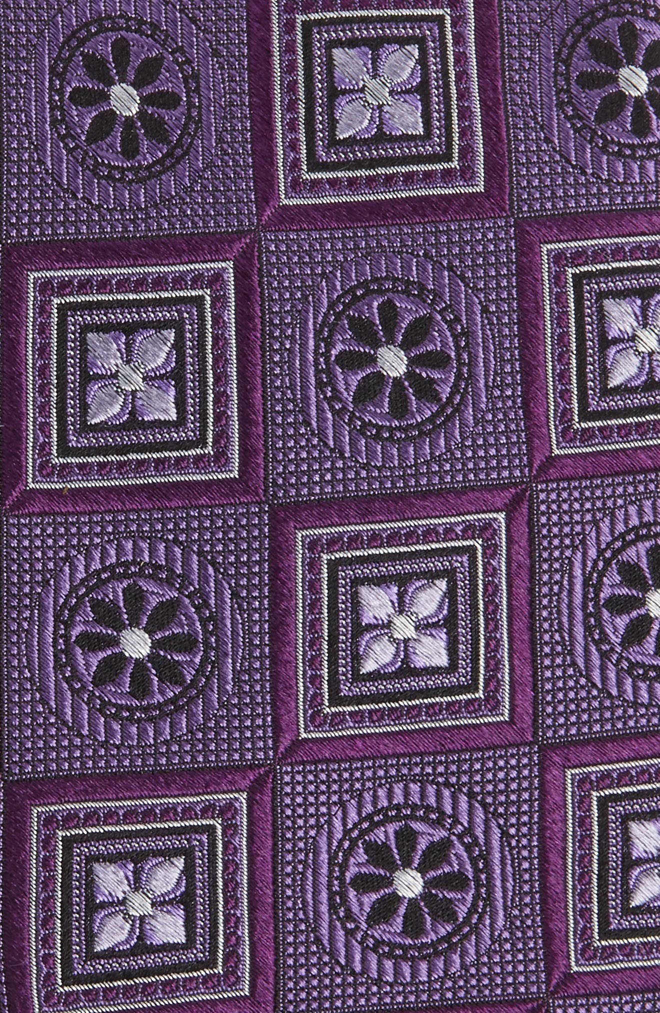 Medallion Squares Silk Tie,                             Alternate thumbnail 2, color,                             Purple