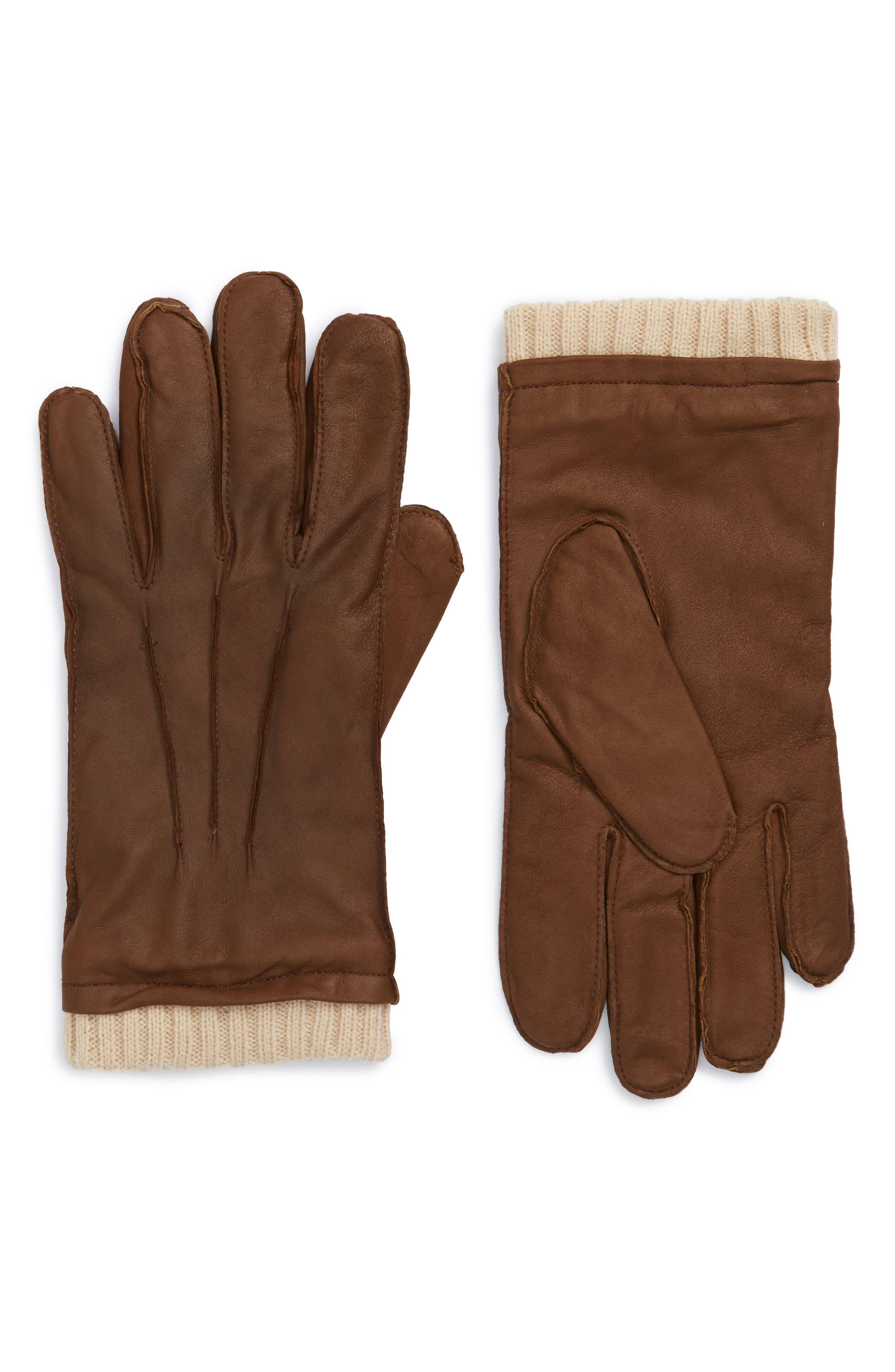 Leather Gloves,                         Main,                         color, Brown Chestnut