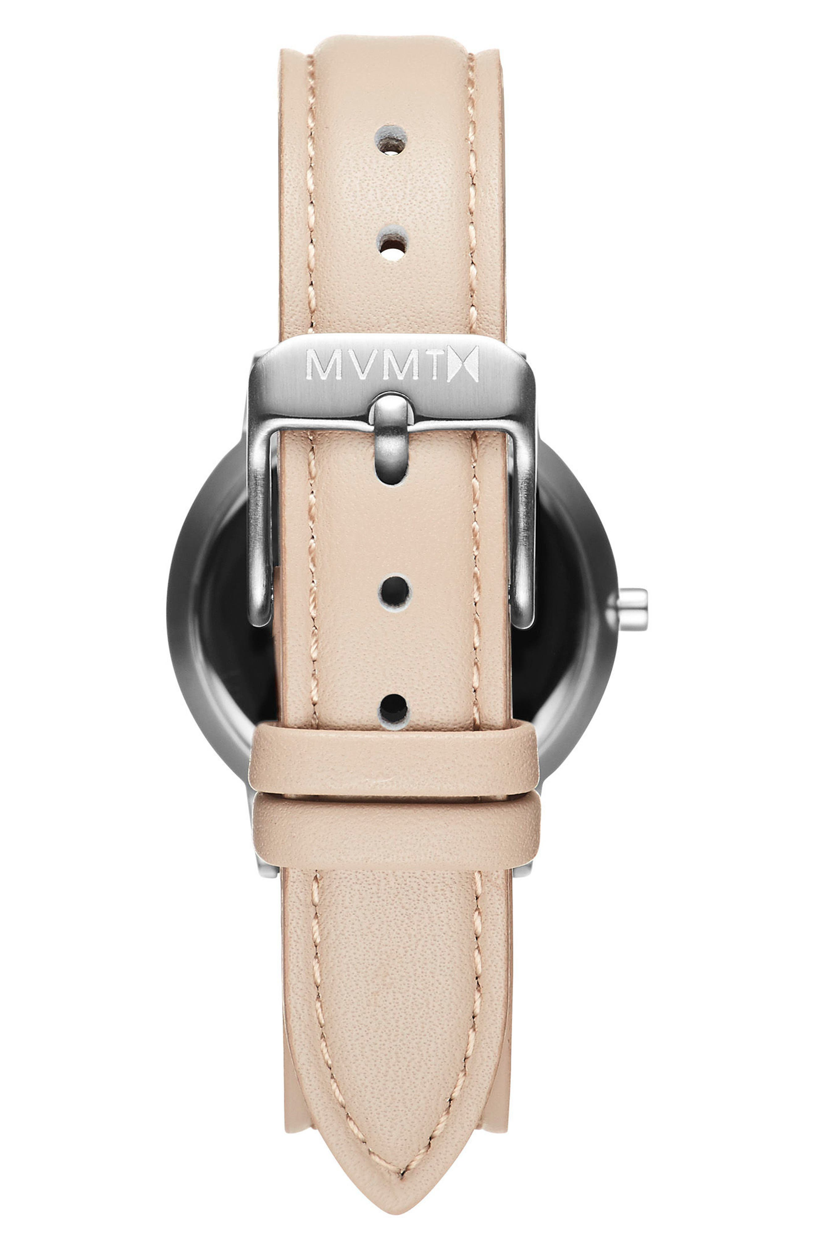 Belamar Leather Strap Watch, 28mm,                             Alternate thumbnail 2, color,                             Creme/ White/ Silver