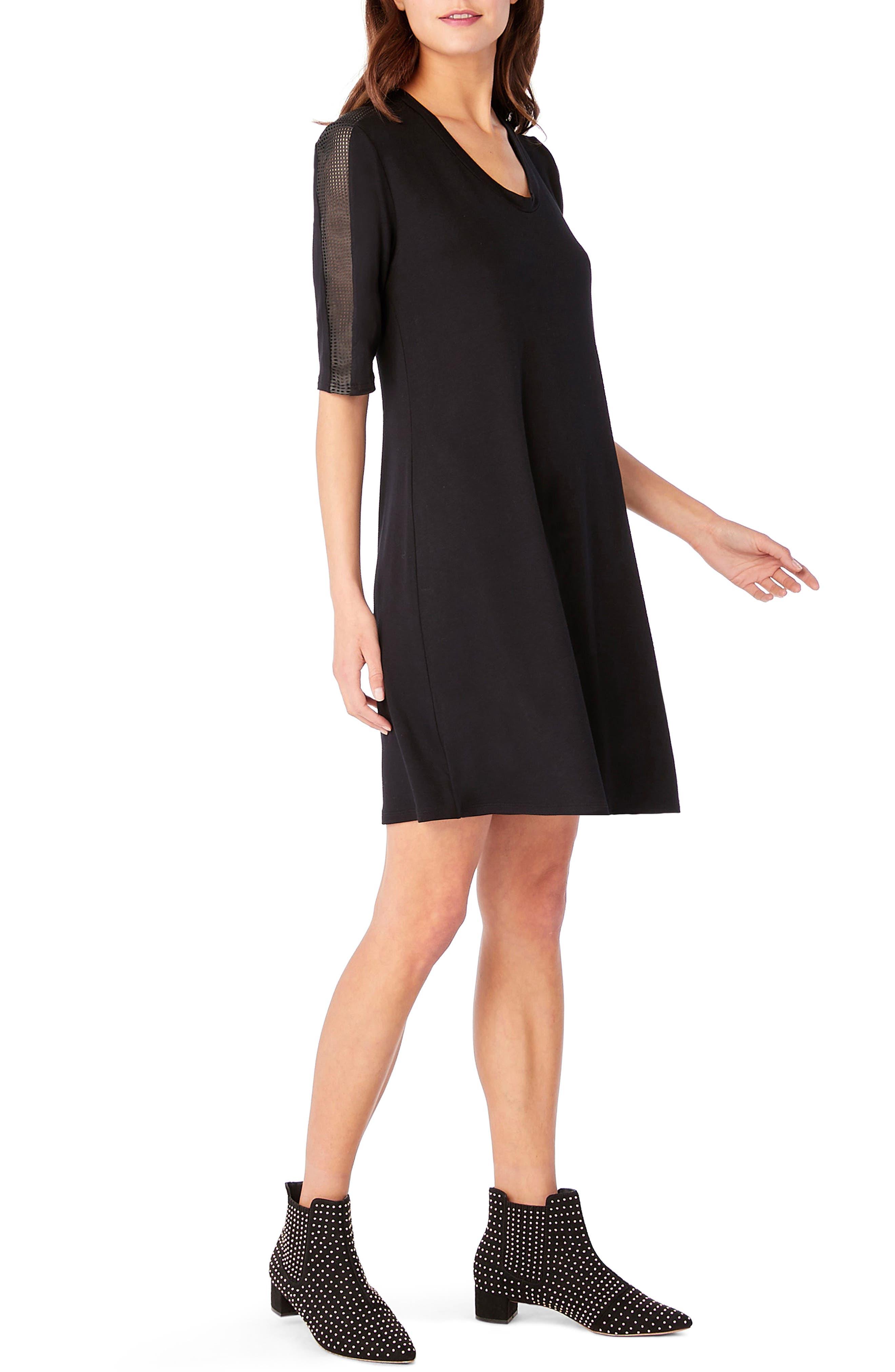 Elbow Sleeve Leather Trim Shift Dress,                             Alternate thumbnail 3, color,                             Black