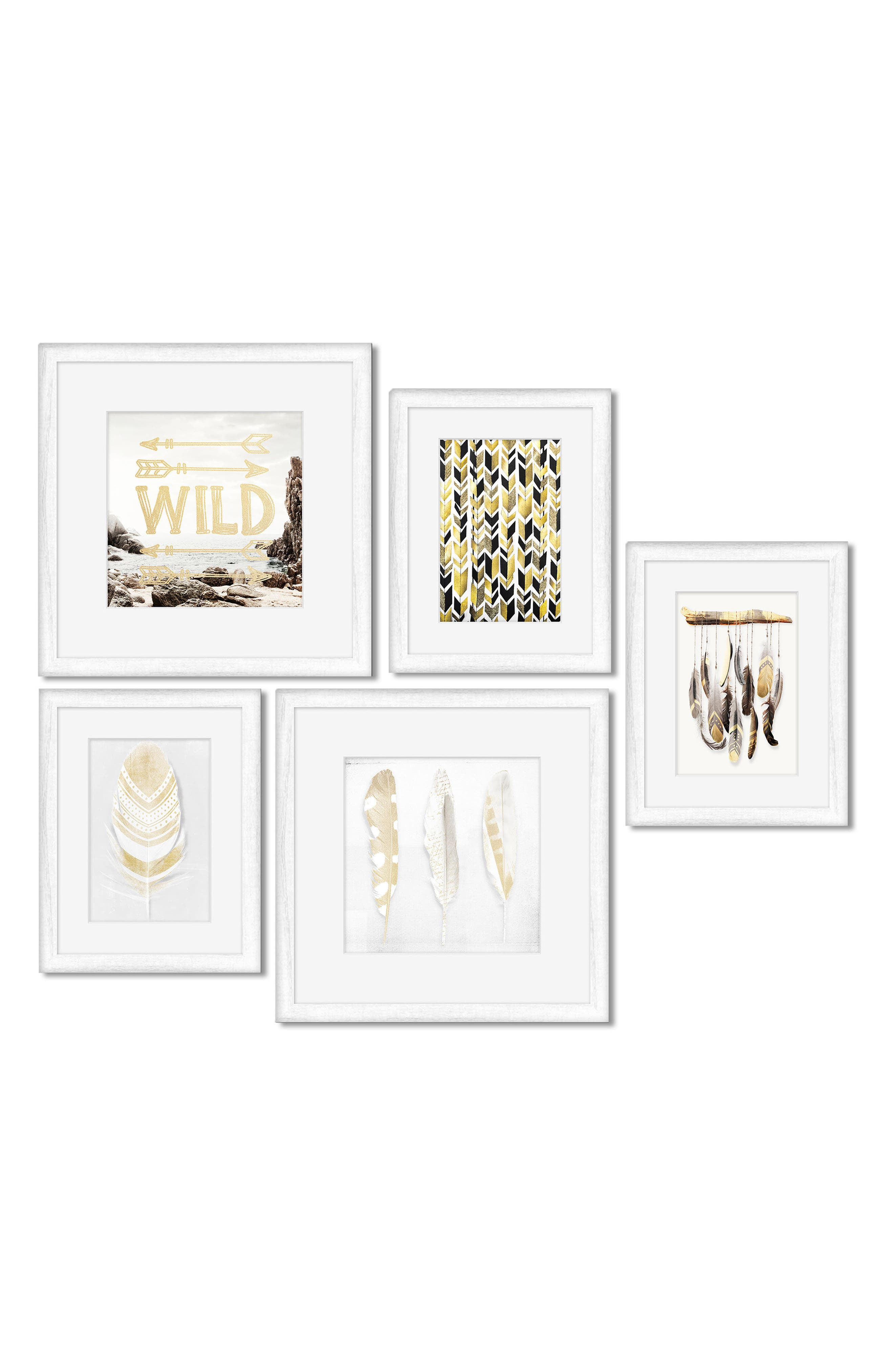 5-Piece Framed Wall Art Gallery,                         Main,                         color, Wild Feathers