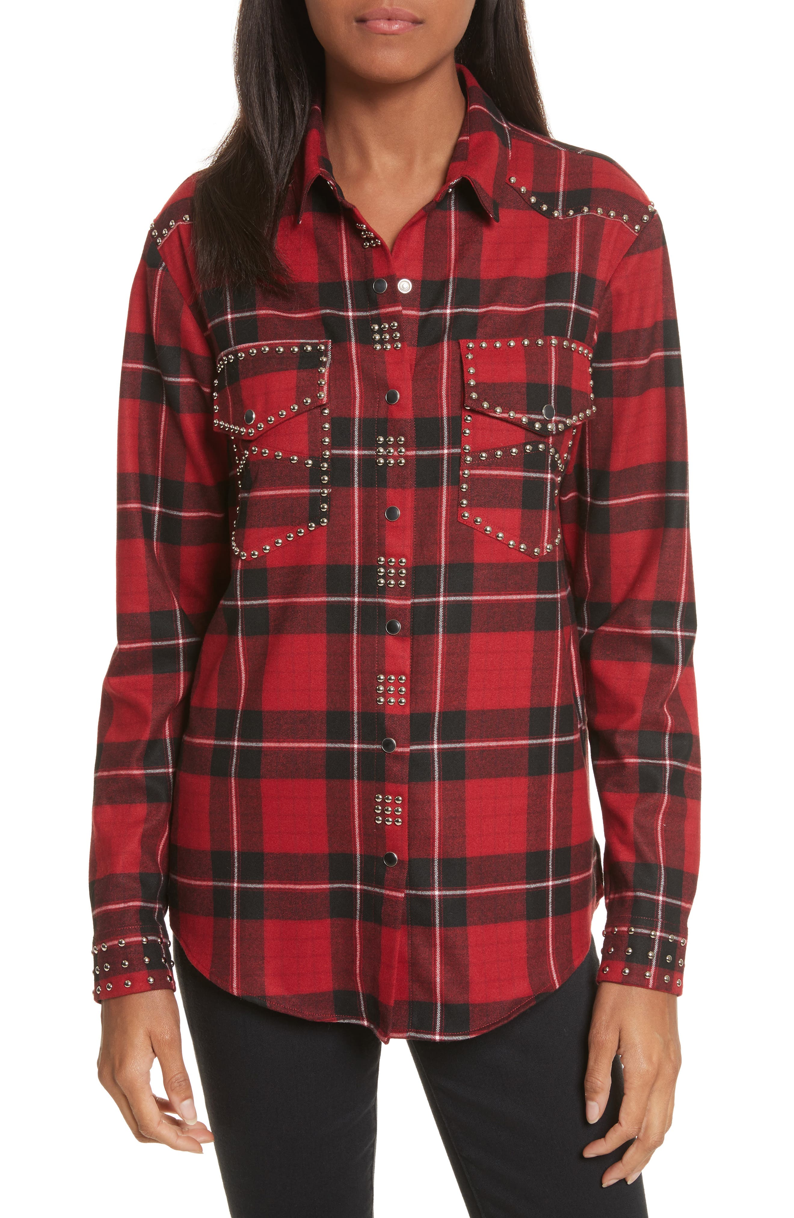 The Kooples Studded Plaid Shirt