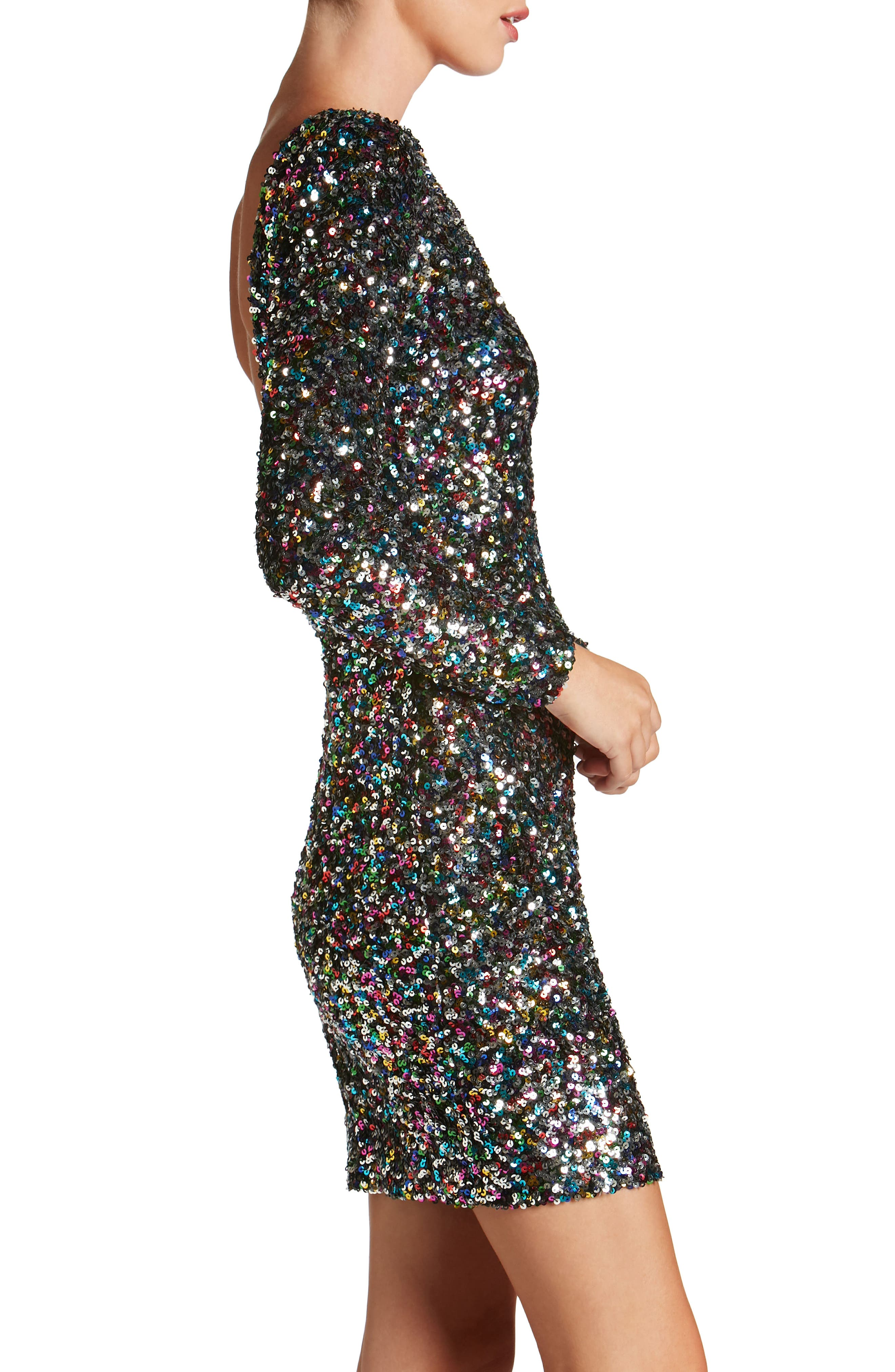 Lola Ombré Sequin Body-Con Dress,                             Alternate thumbnail 3, color,                             Confetti