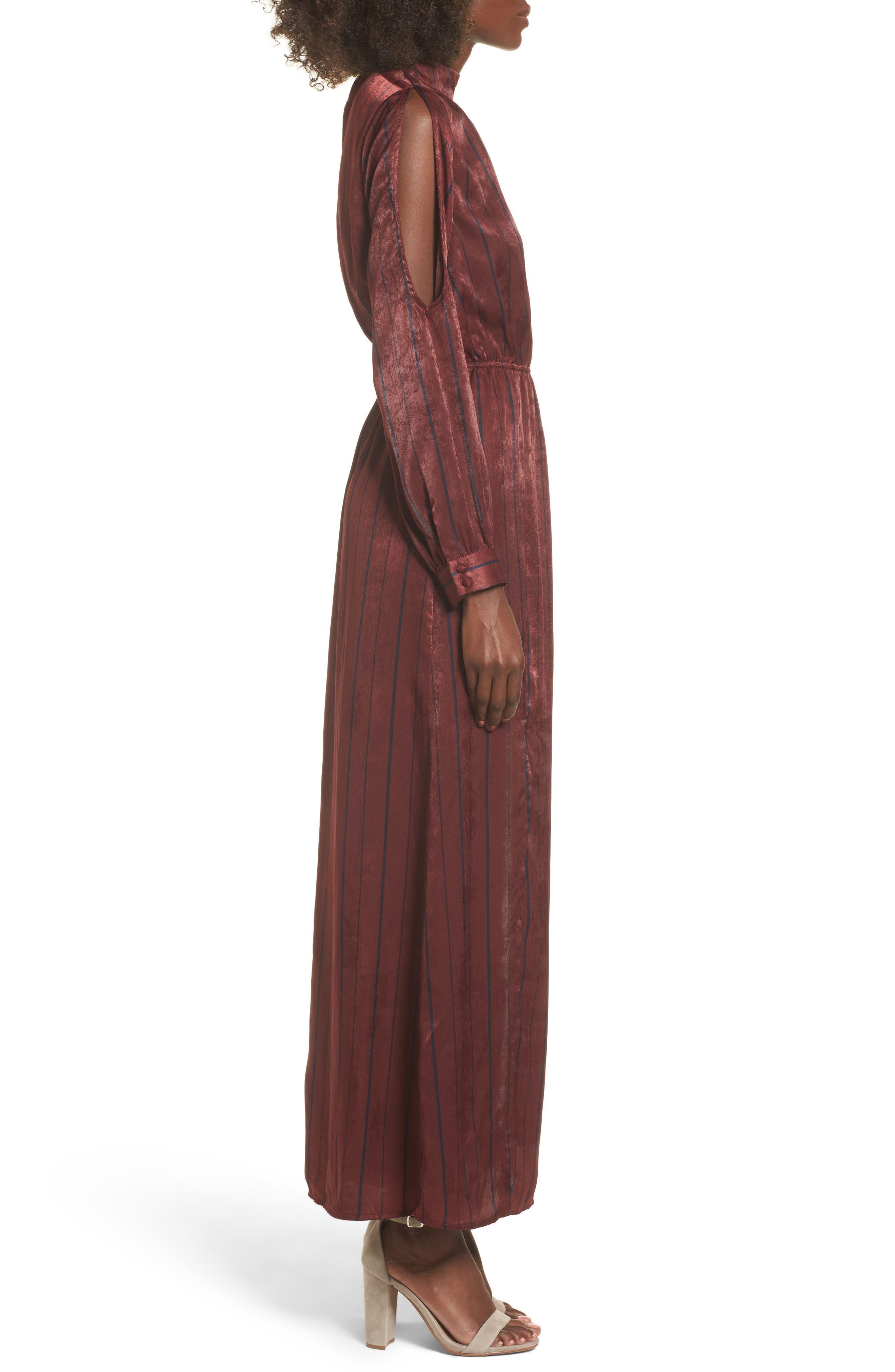 Cold Shoulder Maxi Dress,                             Alternate thumbnail 3, color,                             Wine Multi