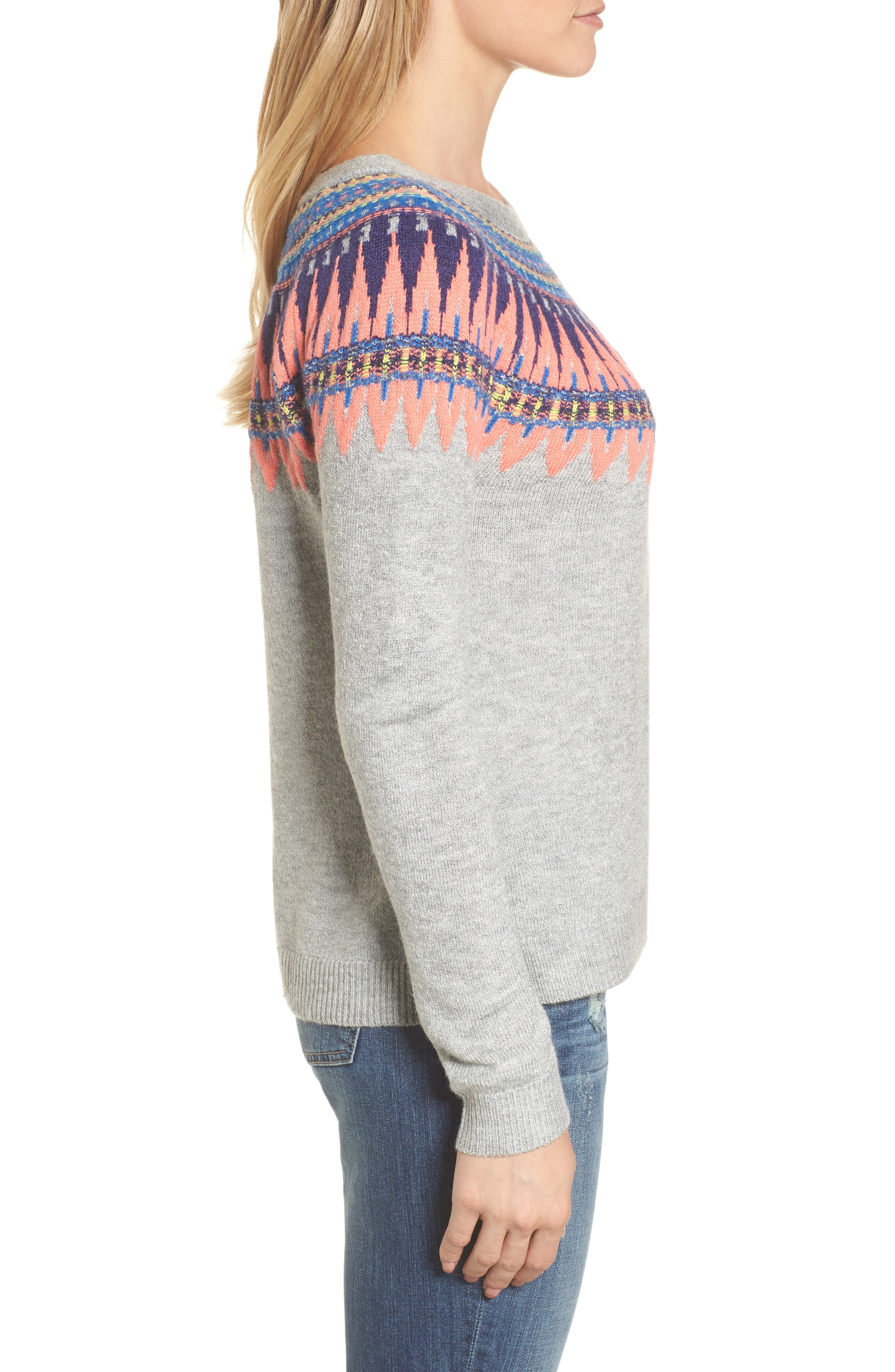Tie Back Patterned Sweater,                             Alternate thumbnail 4, color,                             Grey- Pink Pattern
