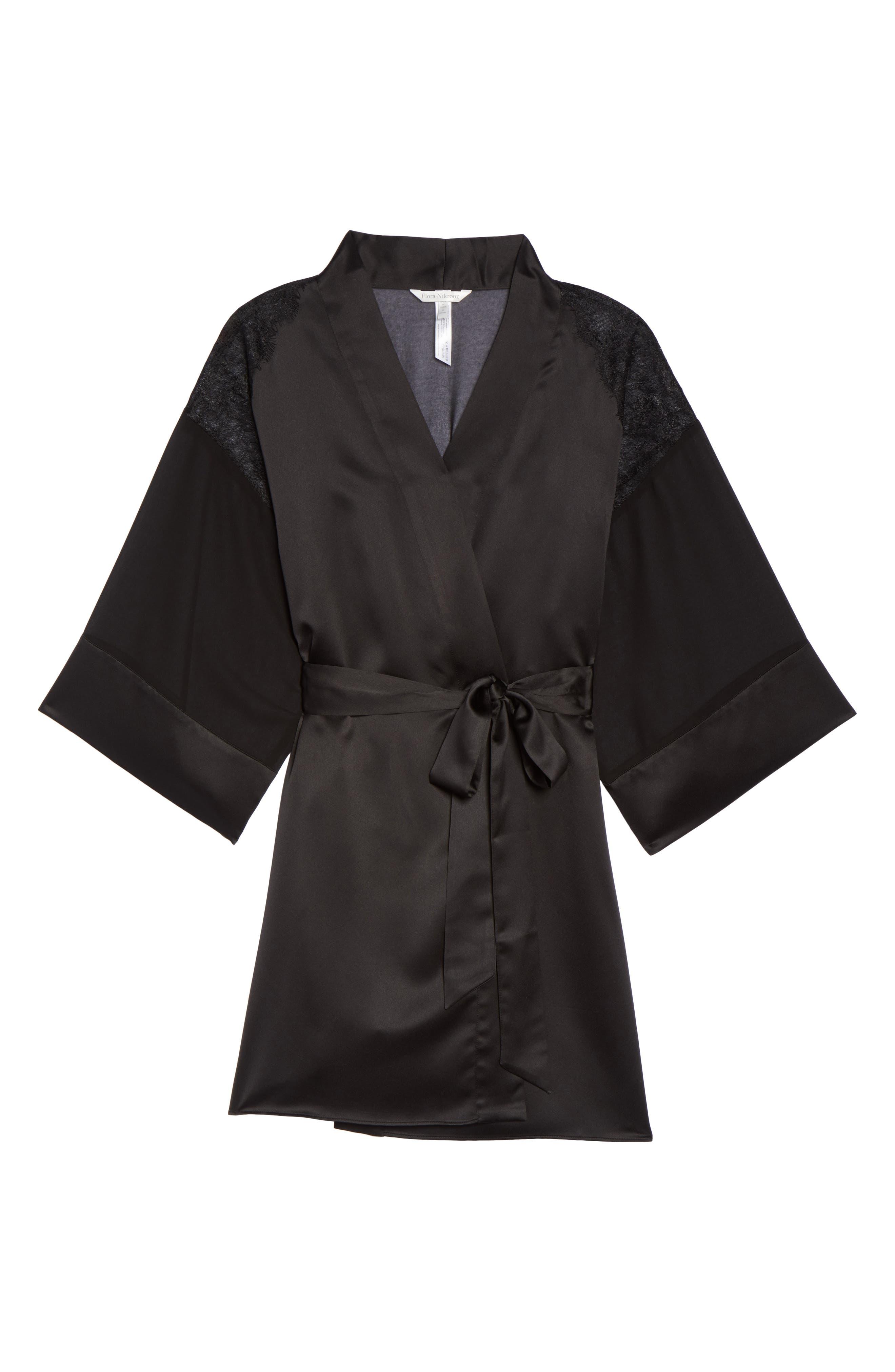 Margot Kimono Robe,                             Alternate thumbnail 4, color,                             Black