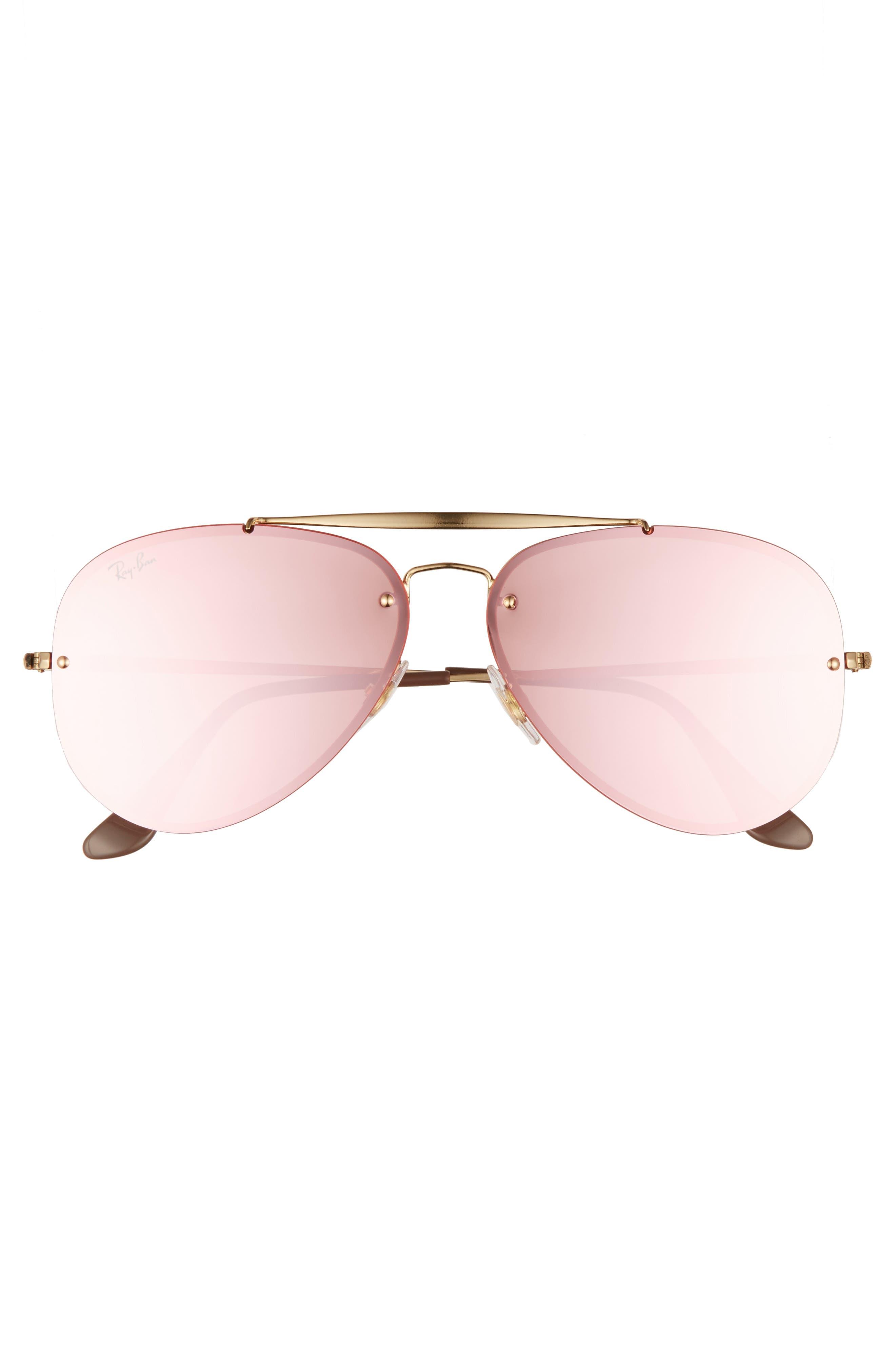 61mm Mirrored Lens Aviator Sunglasses,                             Alternate thumbnail 3, color,                             Gold Pink
