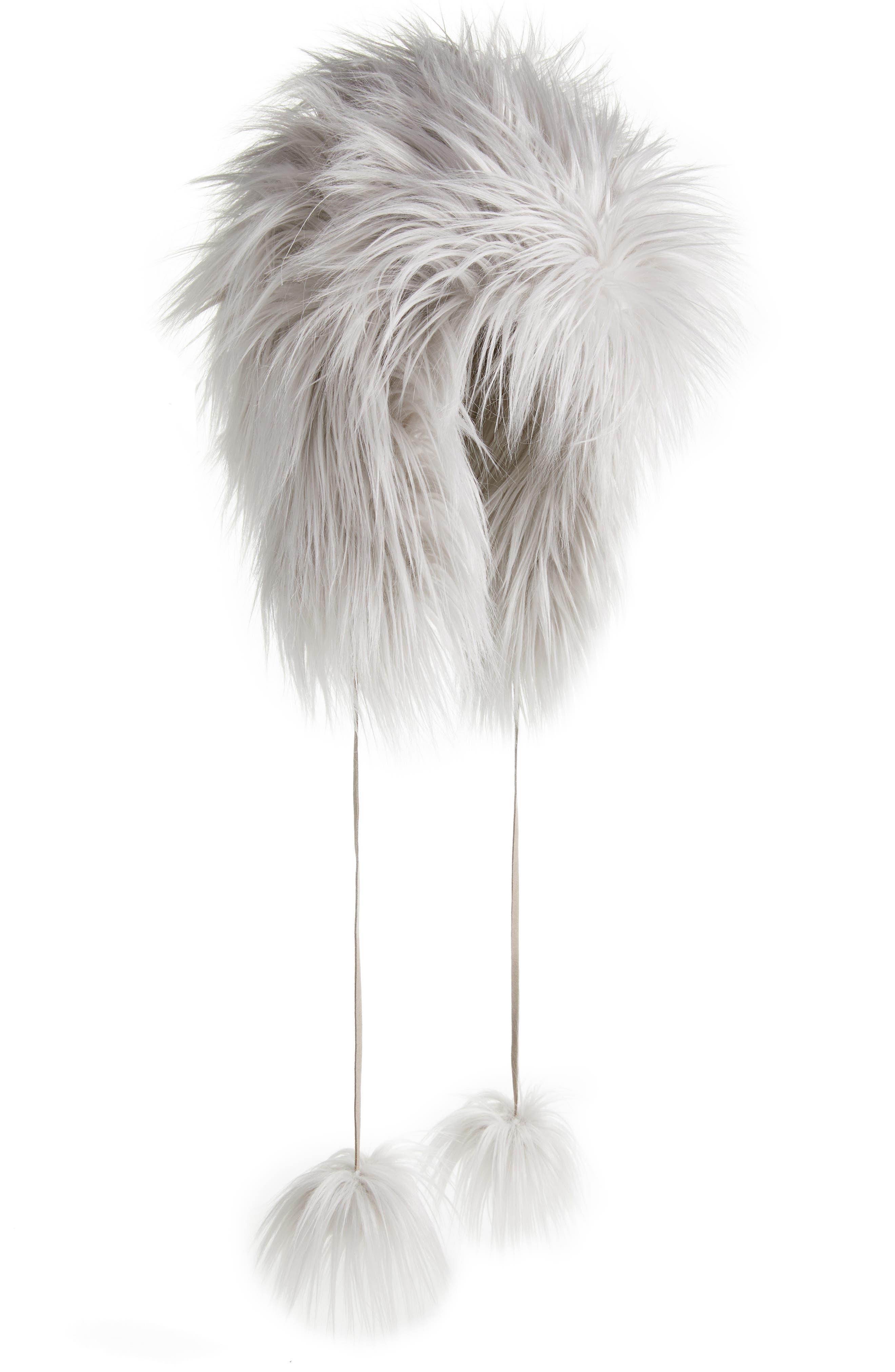Faux Fur Pom Trapper Hat,                             Main thumbnail 1, color,                             Silver