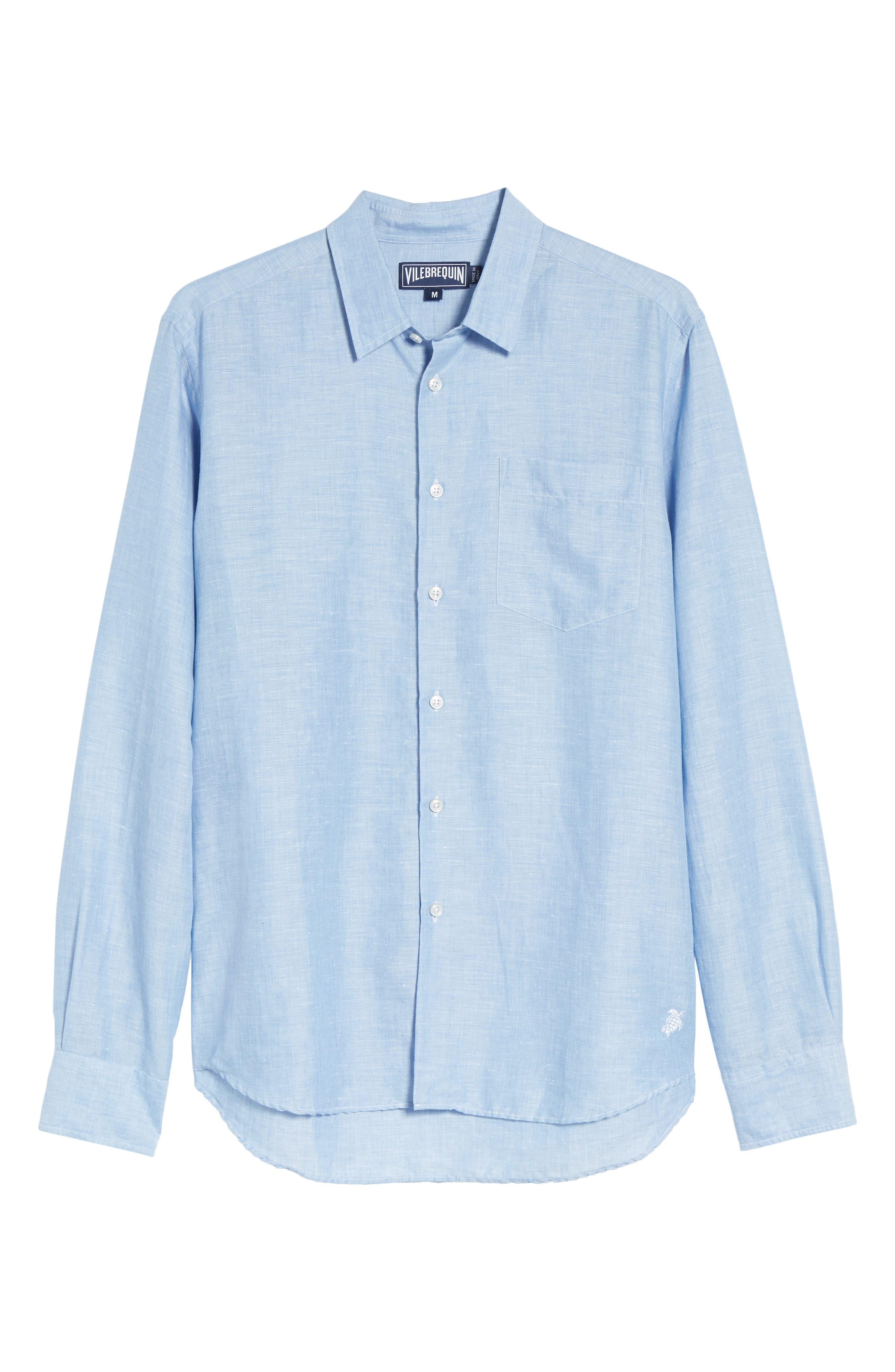 Linen & Cotton Sport Shirt,                             Alternate thumbnail 6, color,                             Blue Jean